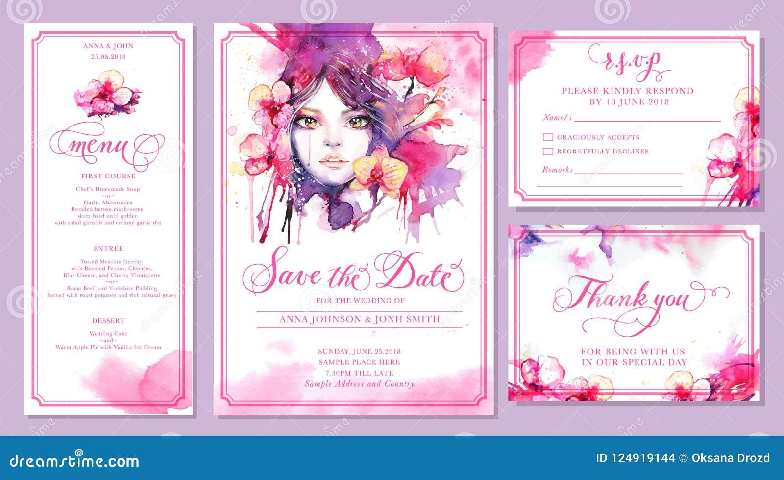 Grupo de moldes do cartão do convite do casamento - aquarela bonita