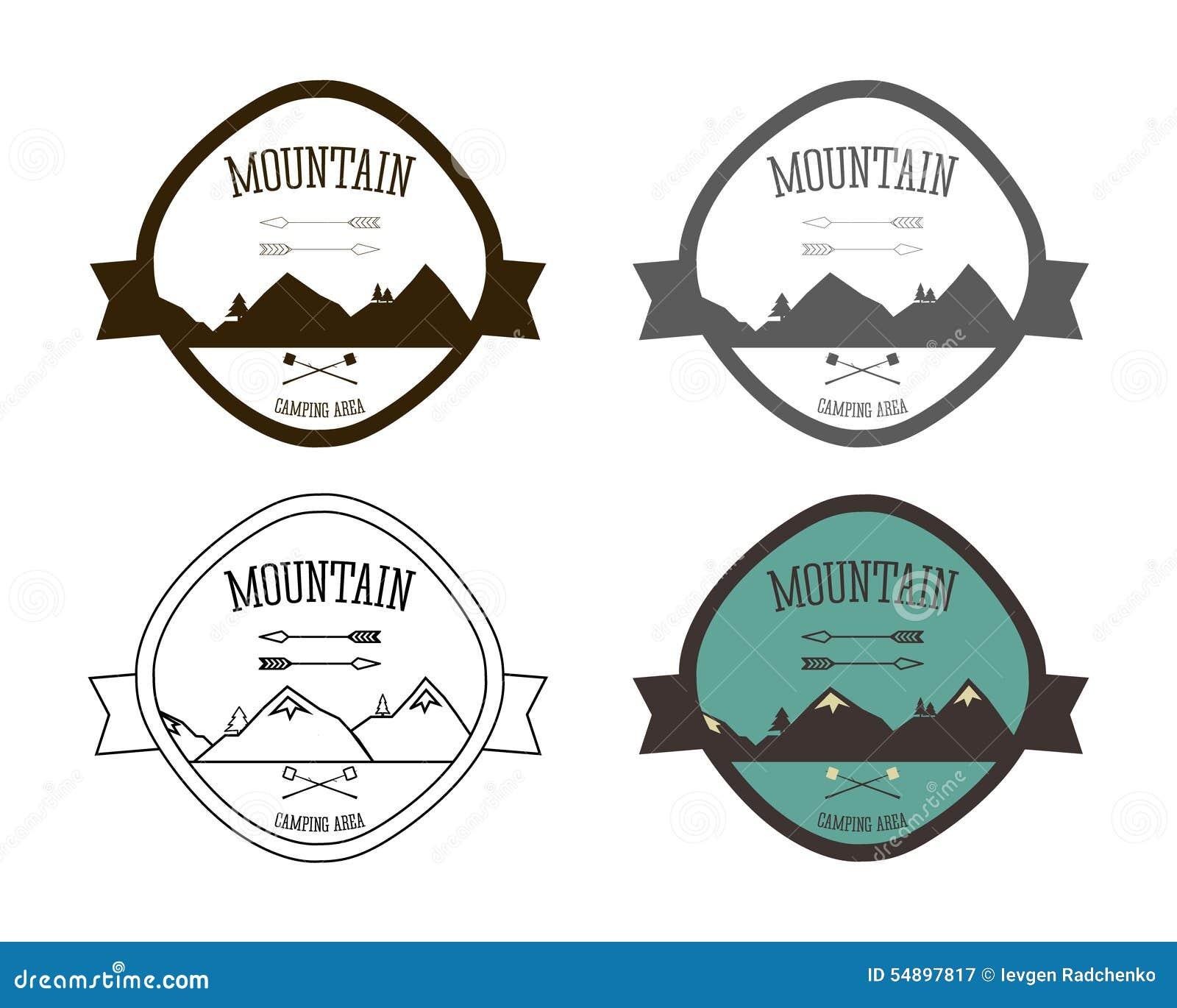 Grupo de moldes do logotipo do acampamento da montanha outdoor