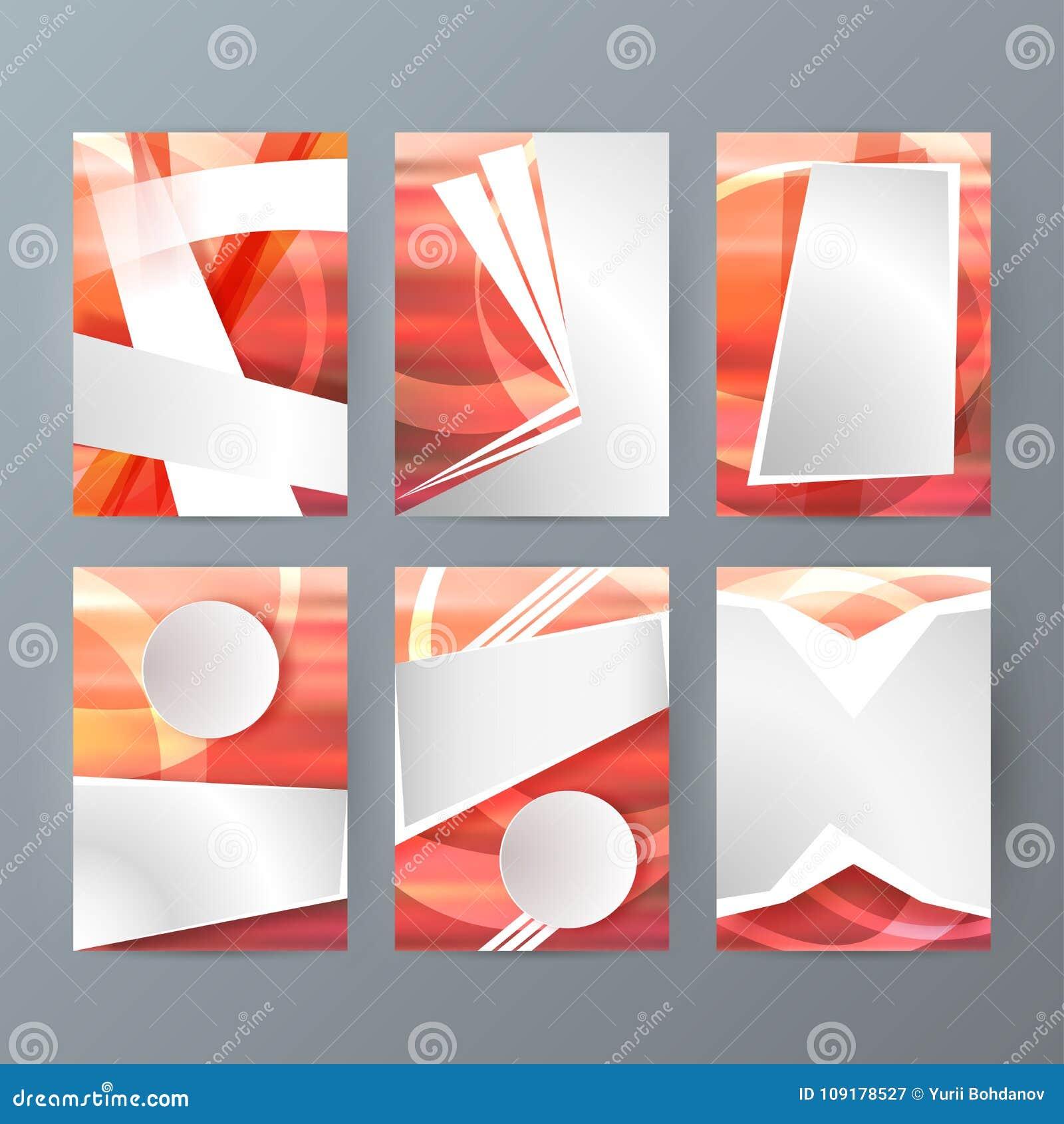 Grupo de moldes do projeto do folheto A4 com modo abstrato geométrico