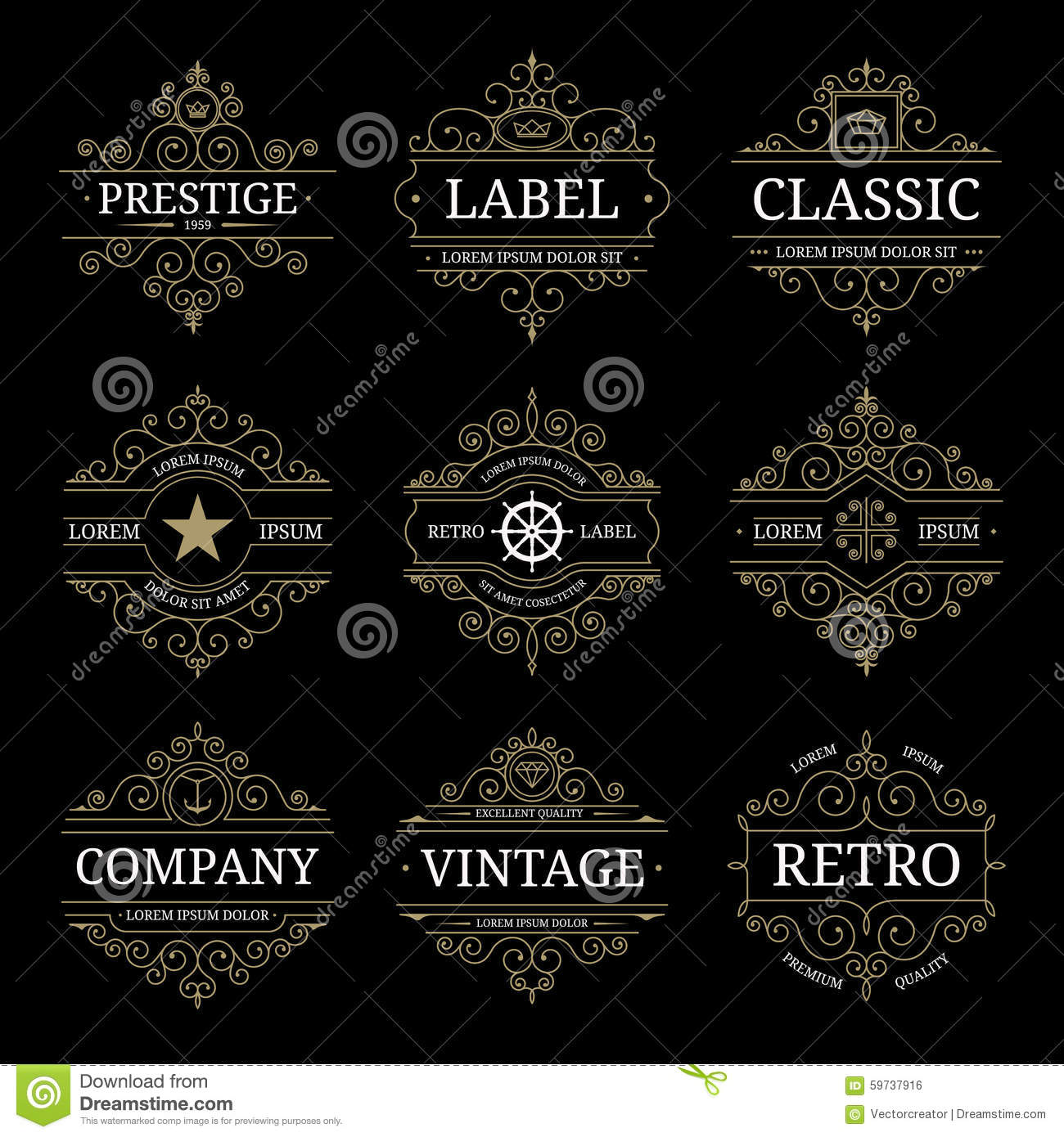 Grupo de moldes luxuosos do logotipo do vintage retro