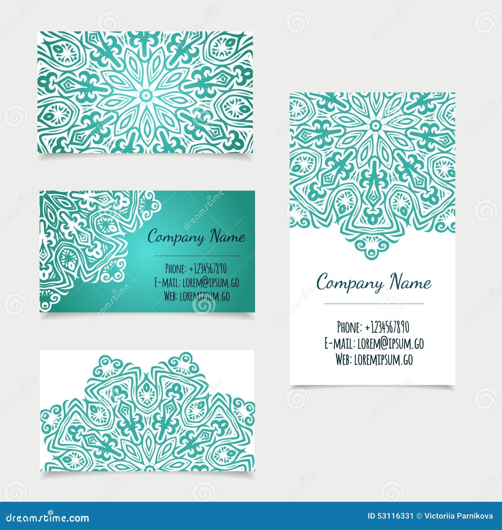 Grupo De Moldes Retros Do Cartão Com Mandala Ilustração Do Vetor