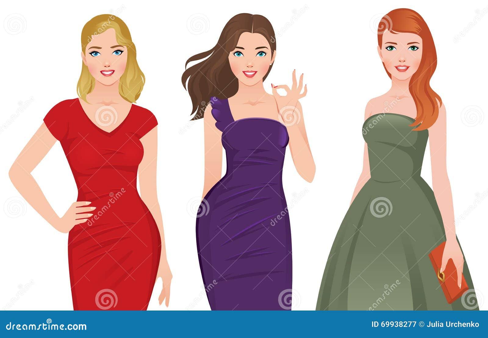 Grupo De Mujeres Hermosas Jovenes En Los Vestidos De Cóctel De Moda ...
