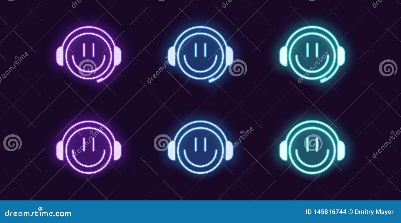 Grupo de n?on do ?cone de Gamer do emoji com fones de ouvido
