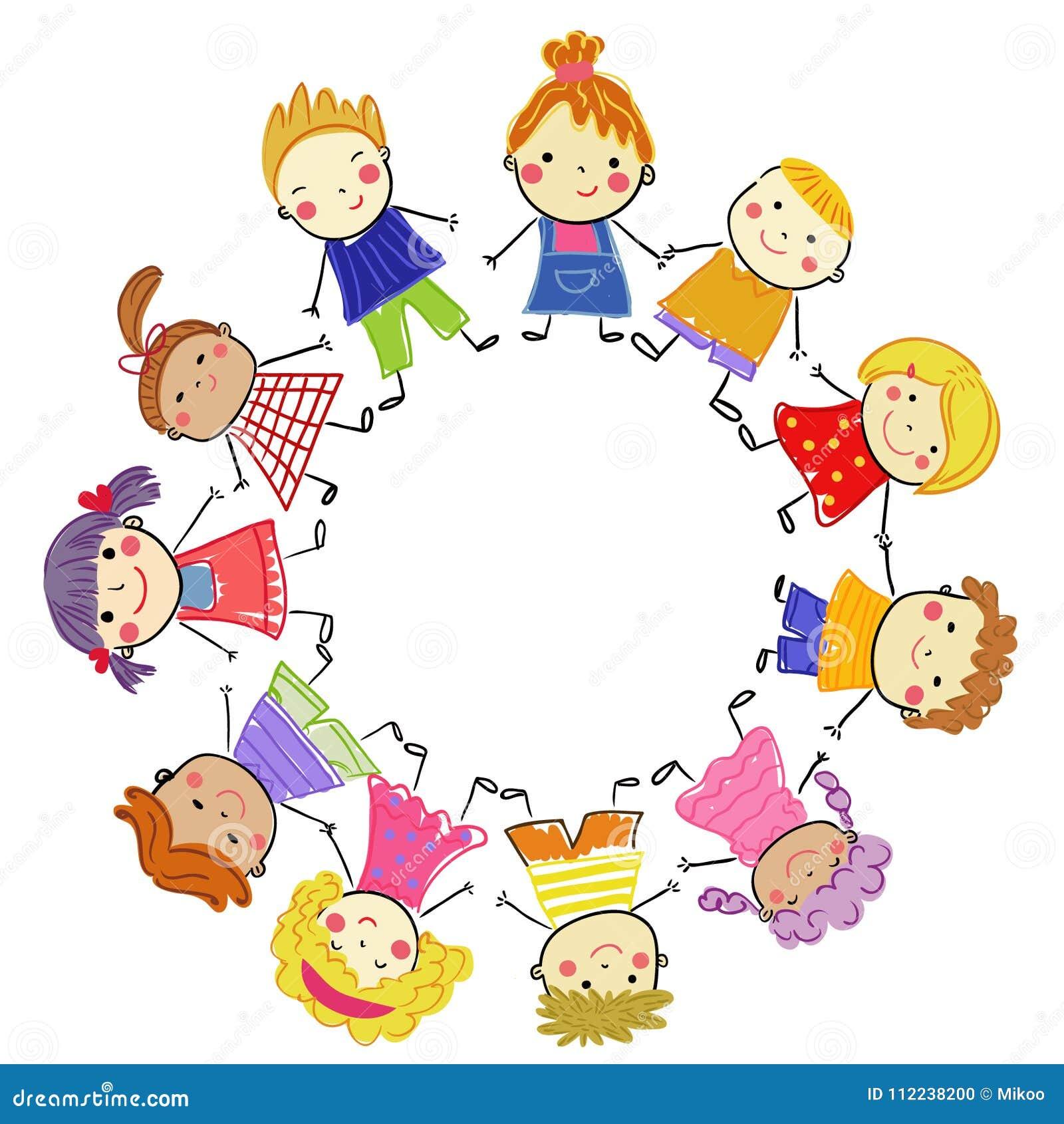 Grupo De Niños Bosquejo De Dibujo Stock De Ilustración