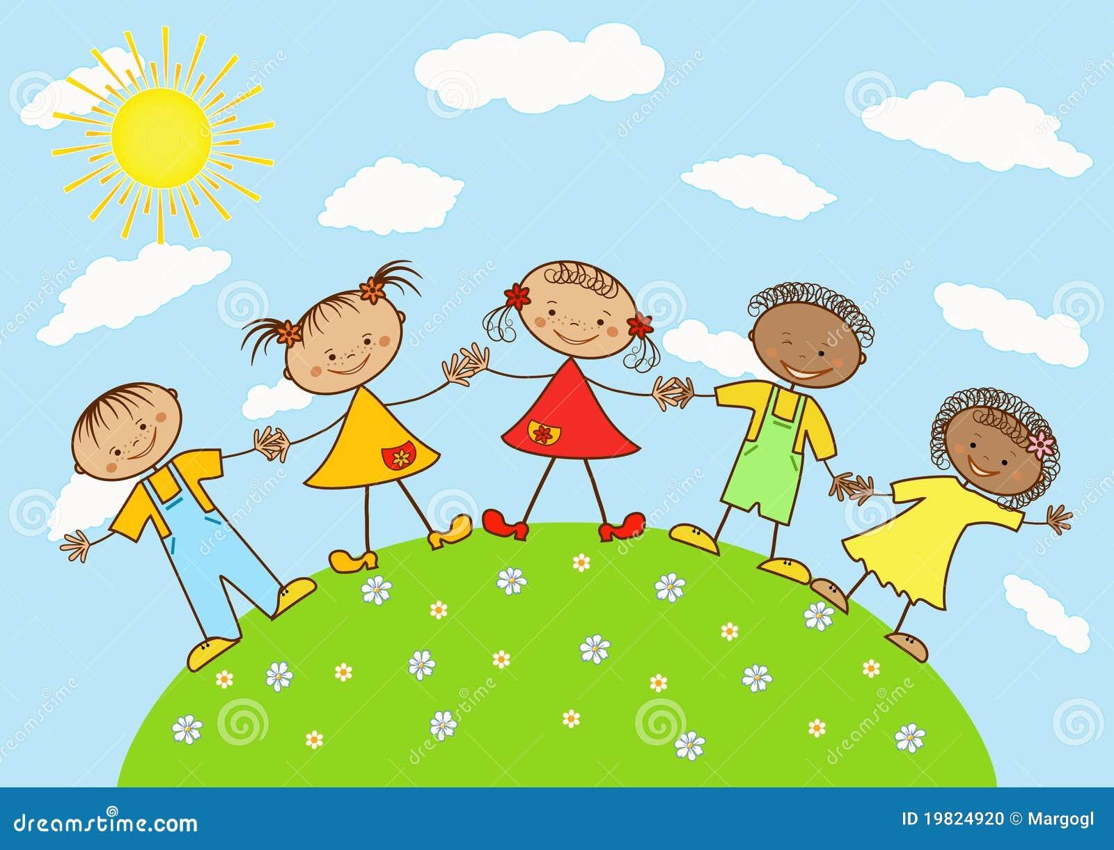 Grupo de niños felices. ilustración del vector. Imagen de ...