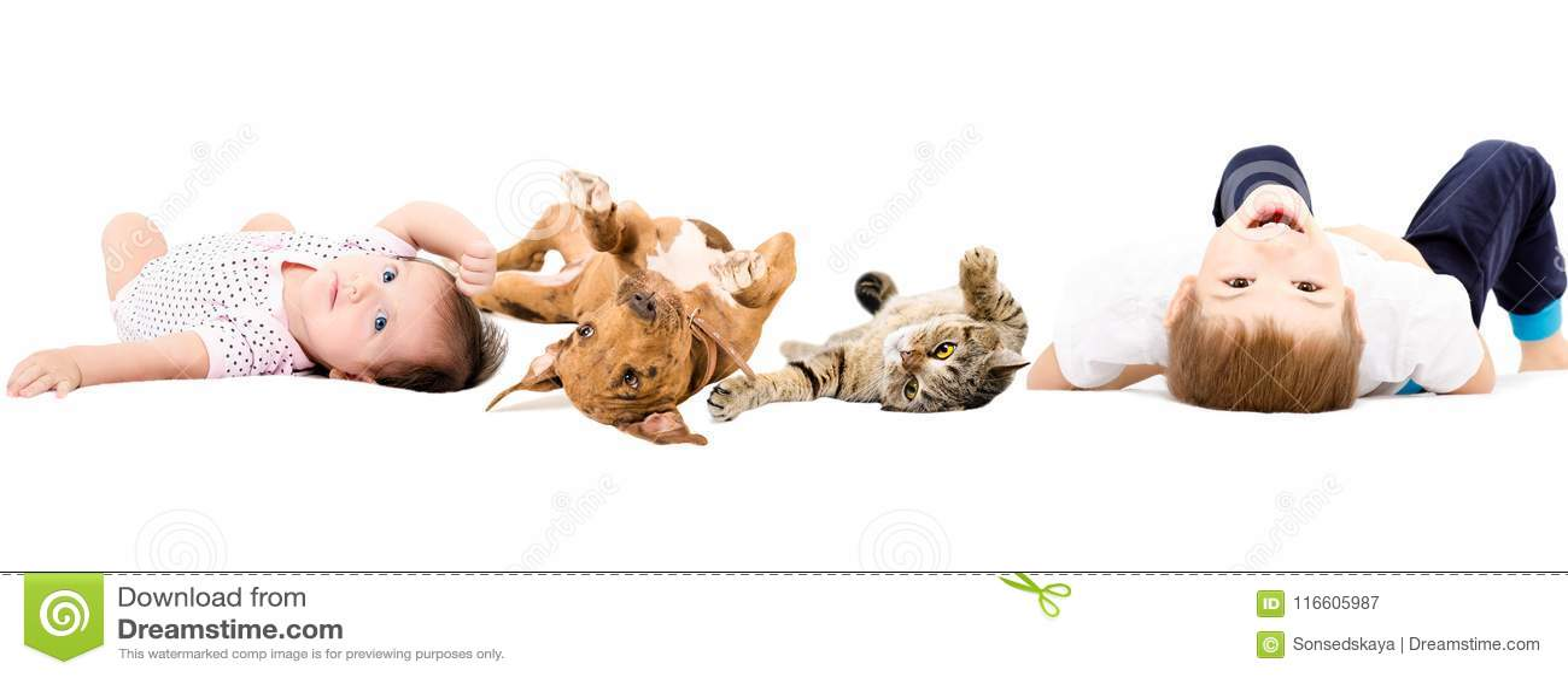Grupo de niños y de animales domésticos felices
