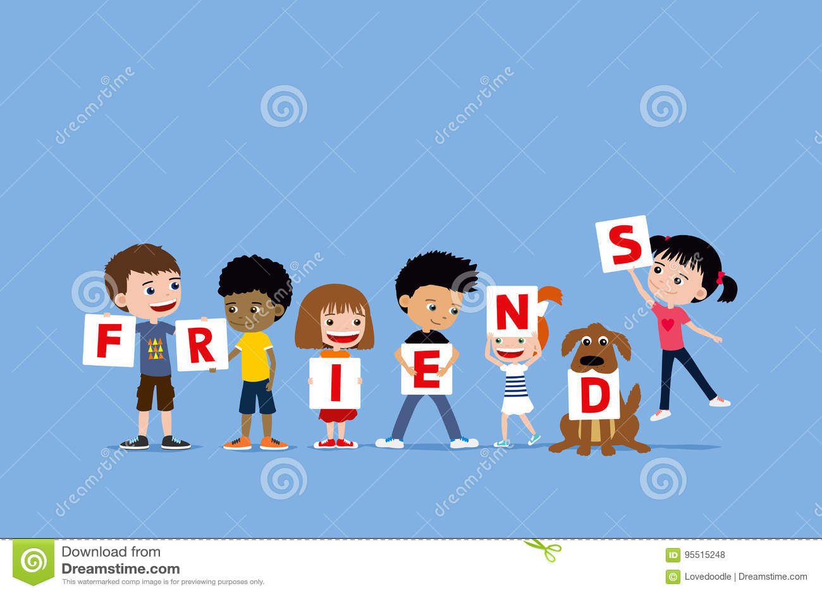 Grupo de niños y un perro que lleva a cabo letras que dicen a amigos Ejemplo diverso lindo de la historieta de niñas y de muchach