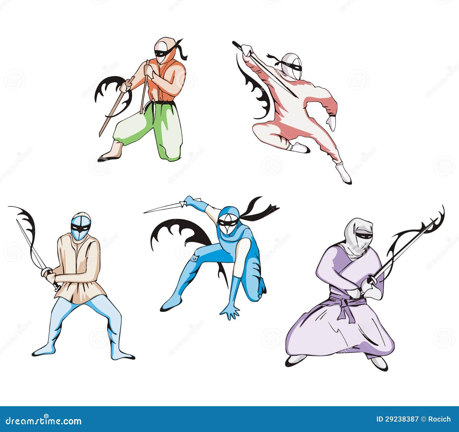 Download Grupo de ninjas ilustração do vetor. Ilustração de preto - 29238387