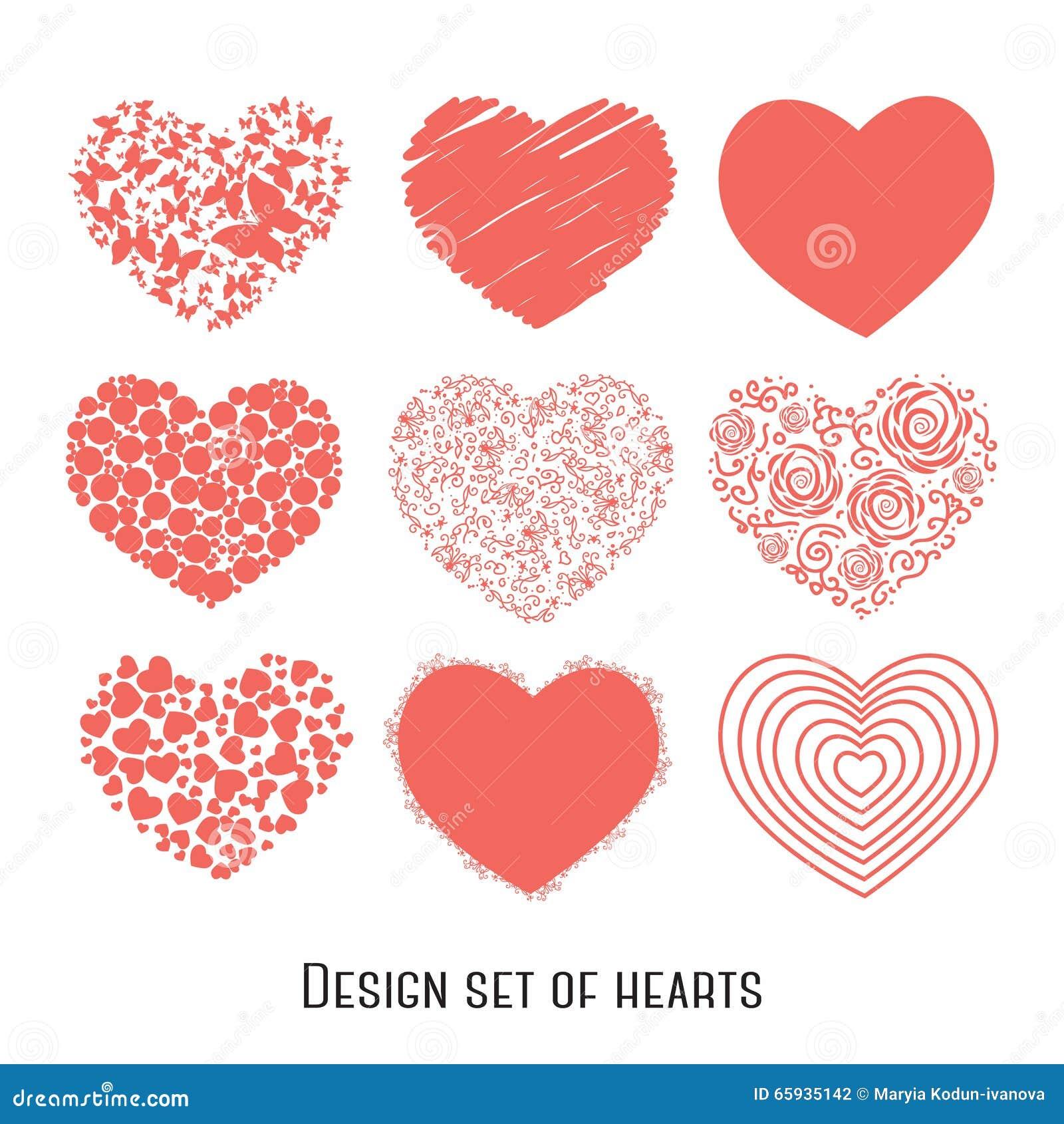 Grupo de nove corações do estêncil para o projeto