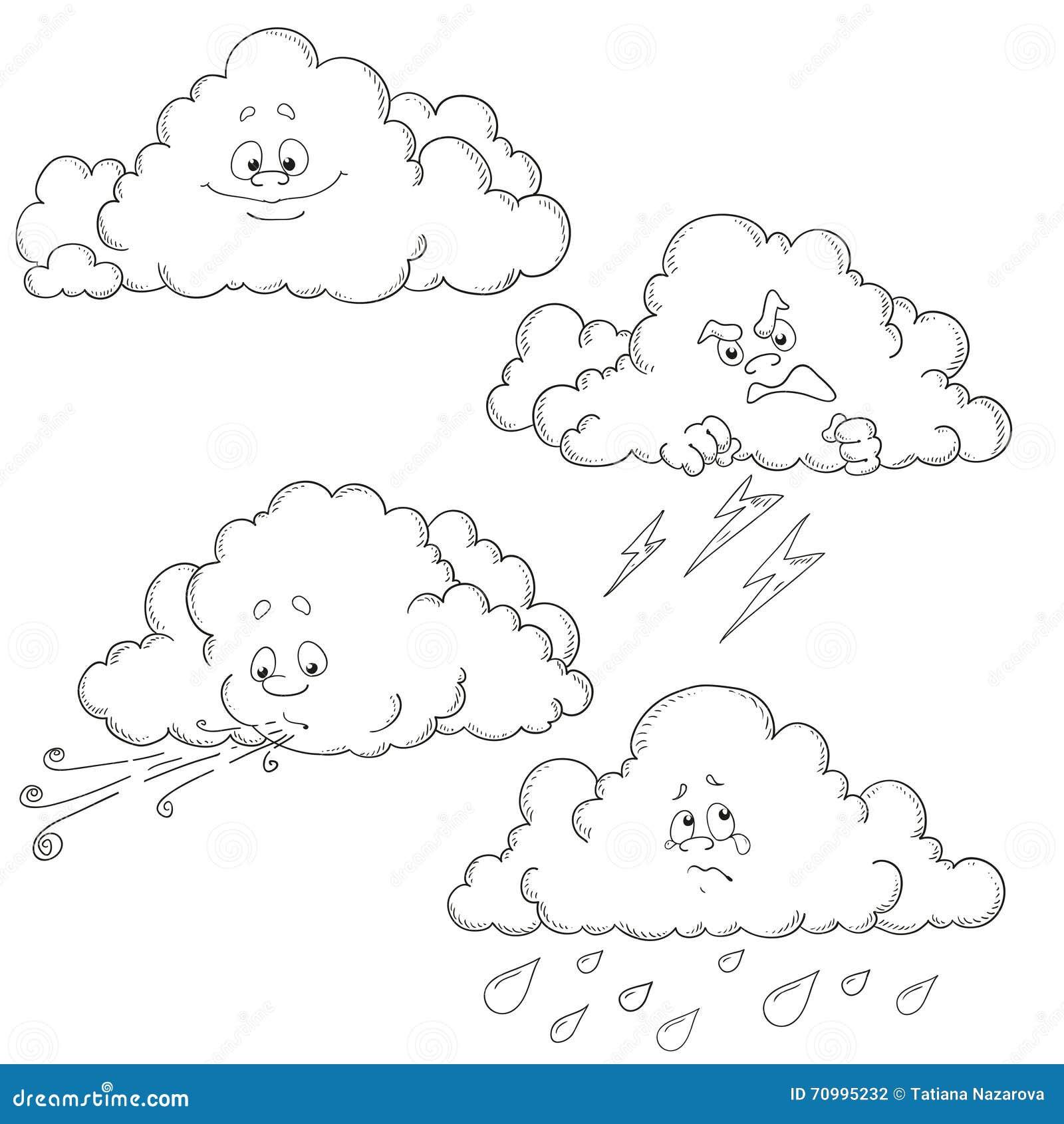 Grupo De Nuvens Dos Desenhos Animados Grupo Do Trabalho Do Vetor