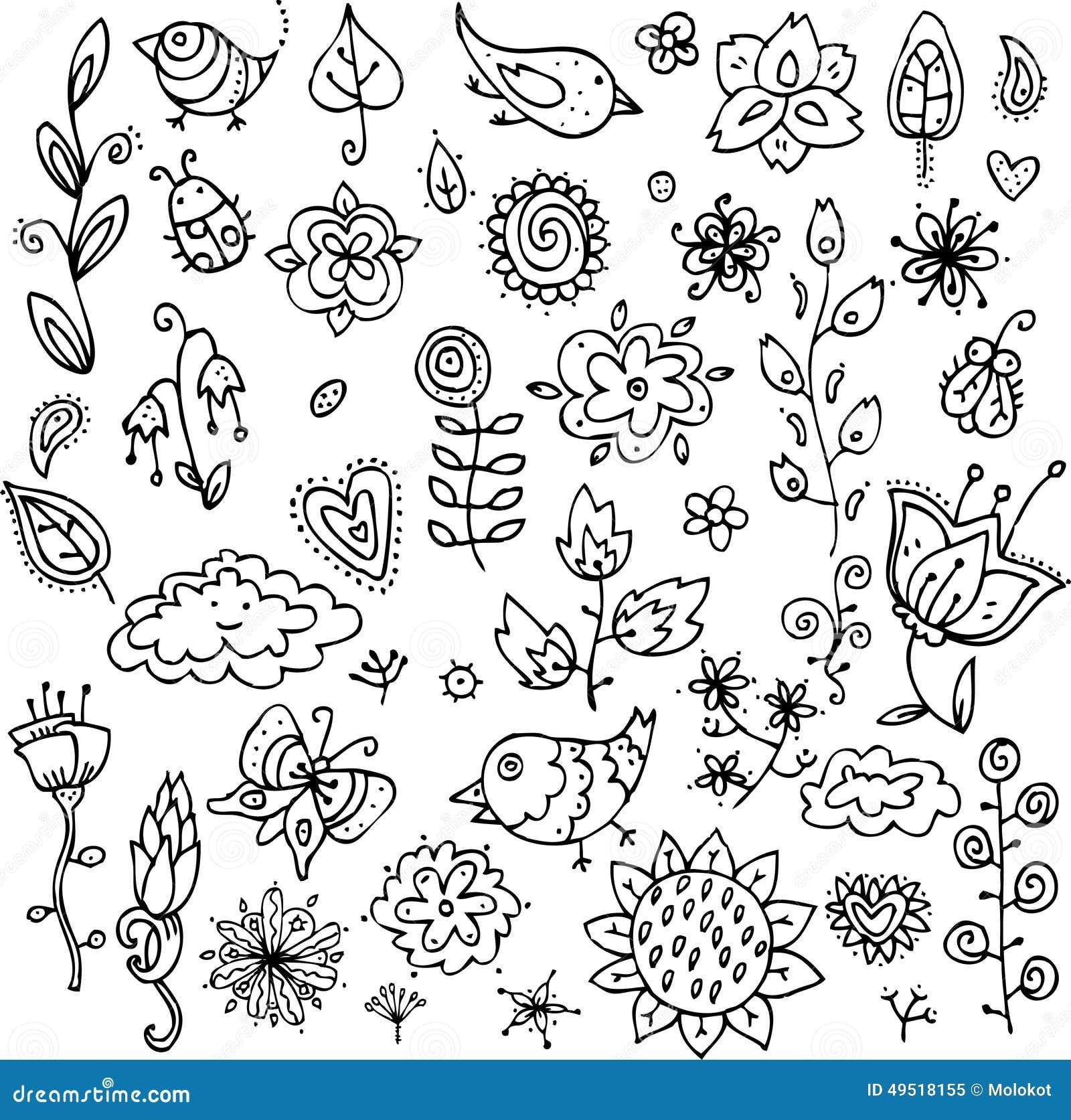 grupo de objetos do contorno dos pássaros das flores das folhas e
