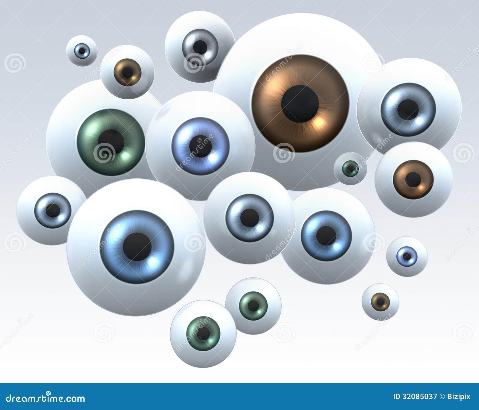 Grupo de olhos olhando fixamente
