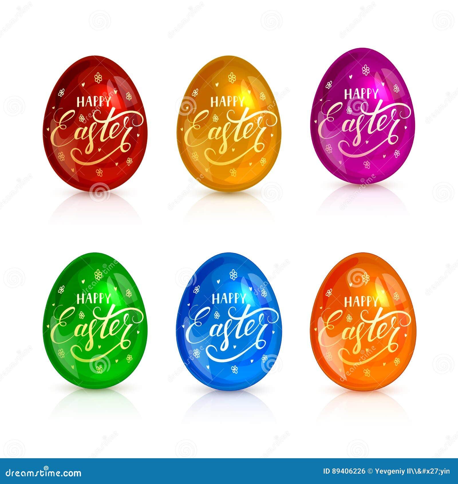 Grupo de ovos da páscoa decorativos com rotulações