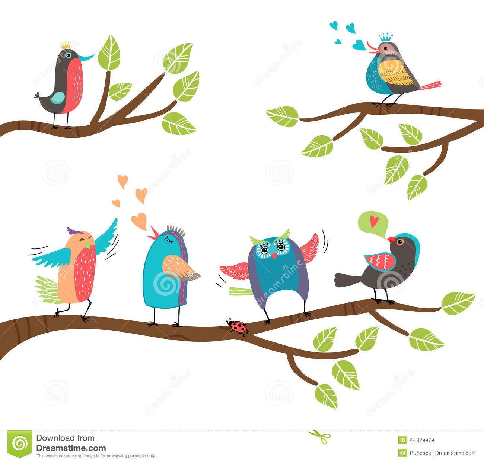 Grupo De Pássaros Coloridos Dos Desenhos Animados Em Ramos ...