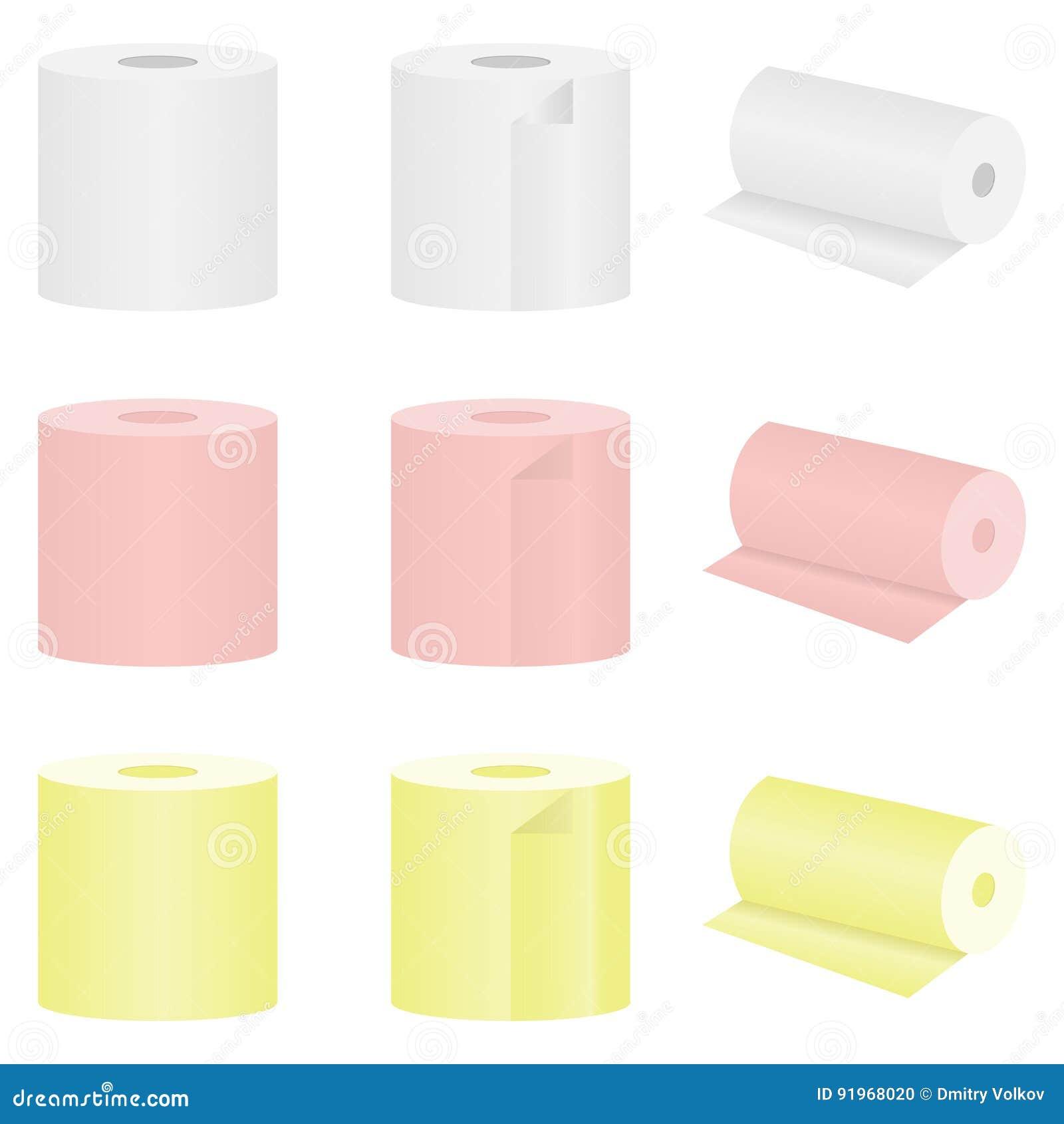 Grupo de papel higiênico colorido