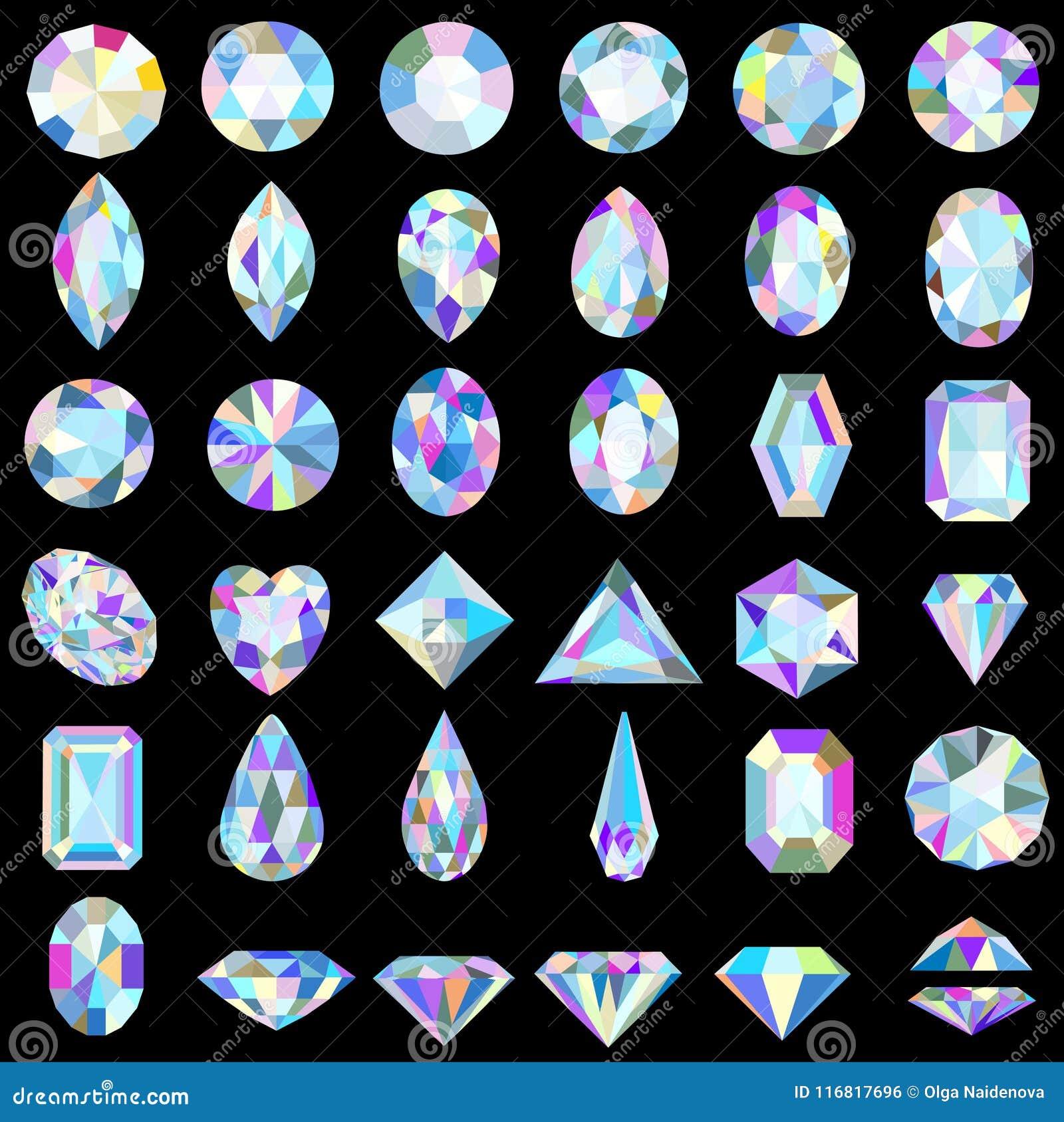Grupo de pedras preciosas de cortes e de cores diferentes