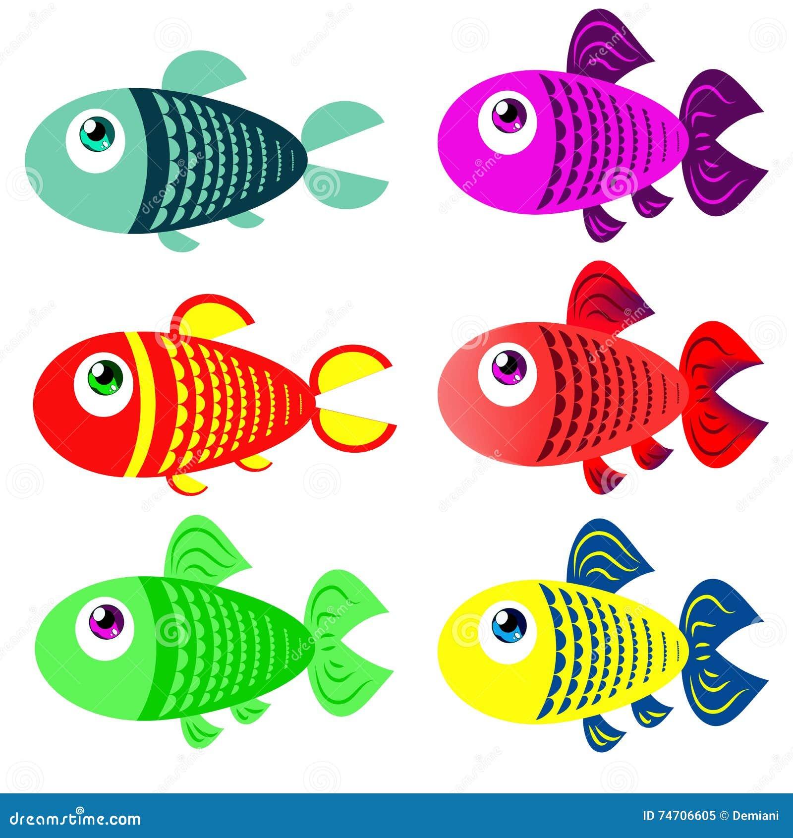 Grupo De Peixes Coloridos No Estilo Dos Desenhos Animados