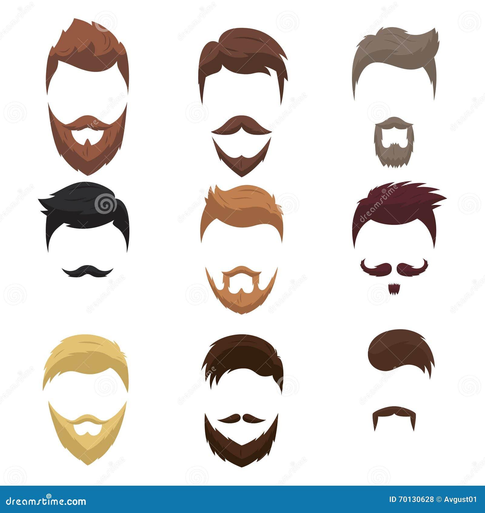 Grupo De Penteados Dos Desenhos Animados Dos Homens Com Barbas E