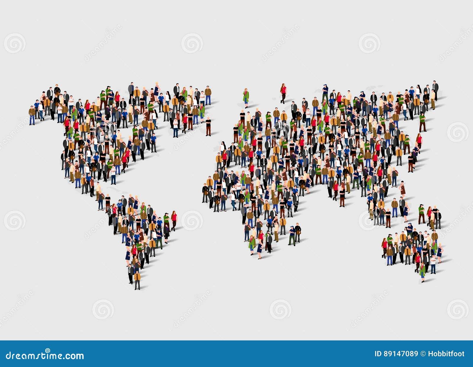 Grupo de personas en la forma de mapa del mundo Globalización, población, concepto social