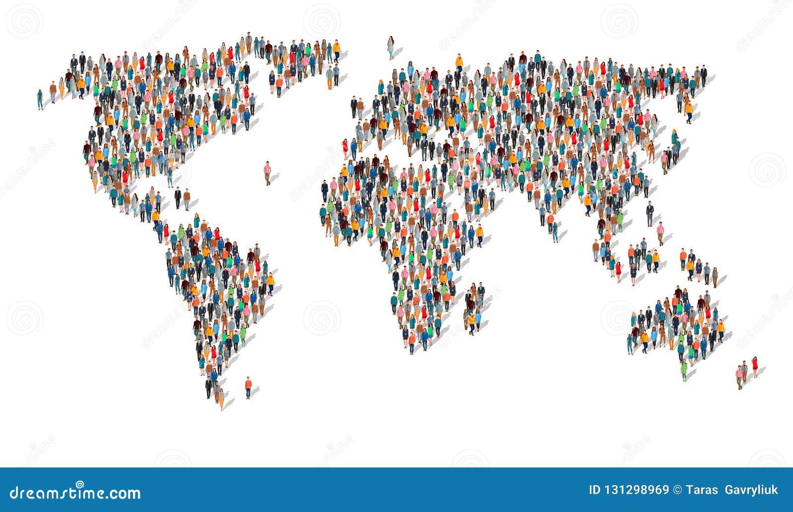 Grupo de personas en la forma de mapa del mundo