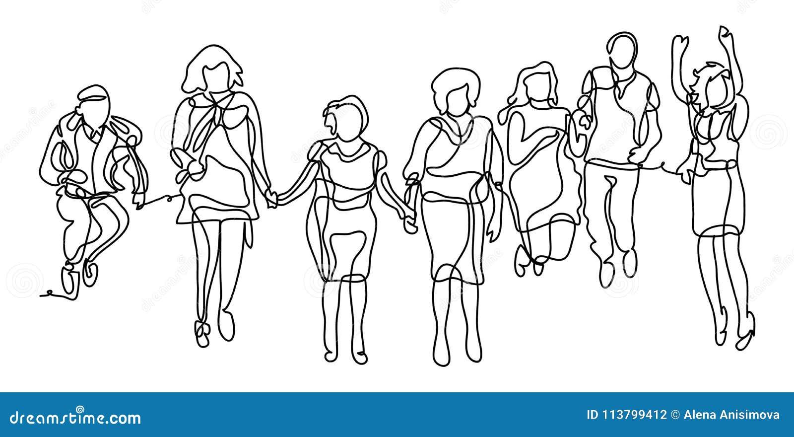 Grupo de personas feliz que salta en un fondo blanco El concepto de amistad, forma de vida sana Línea continua