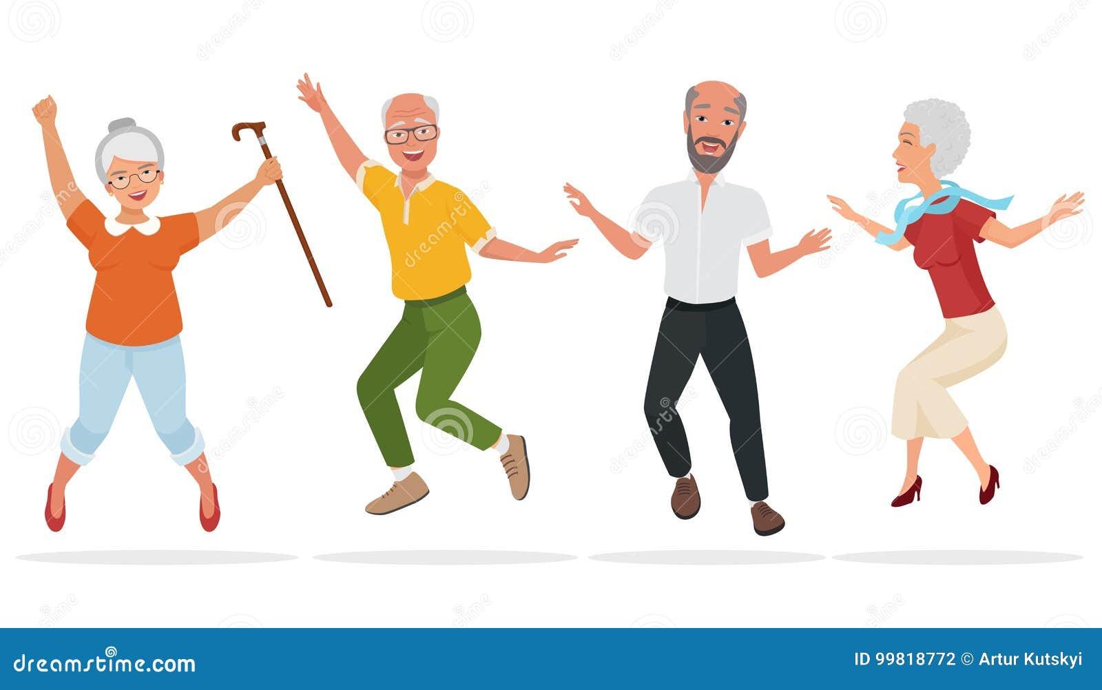 Grupo de personas mayores junto Viejo salto mayor activo y feliz Ilustración del vector de la historieta