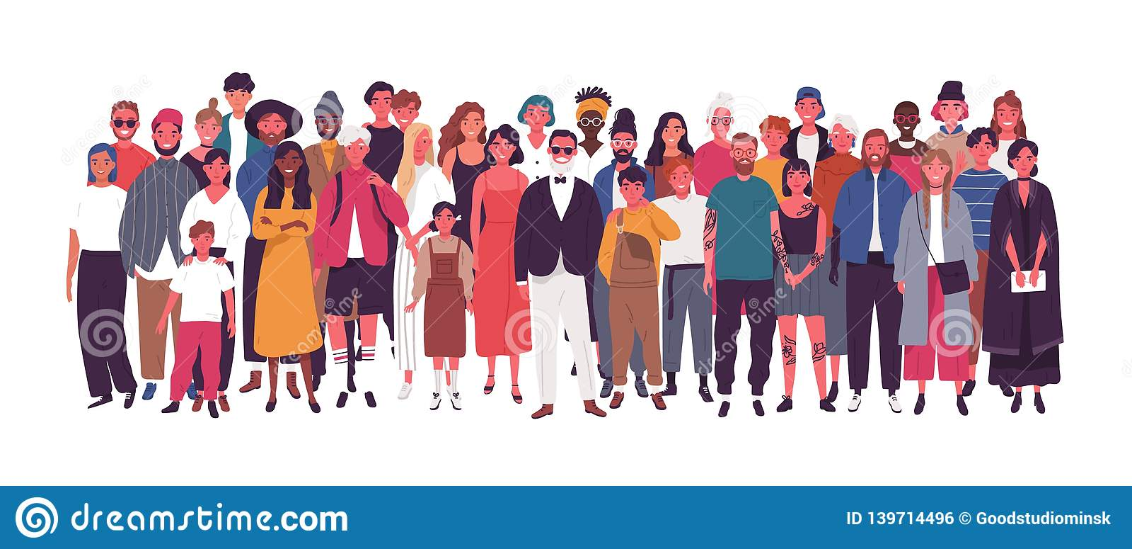 Grupo de personas multiétnico o multinacional diverso aislado en el fondo blanco Hombres mayores y jovenes, mujeres y niños