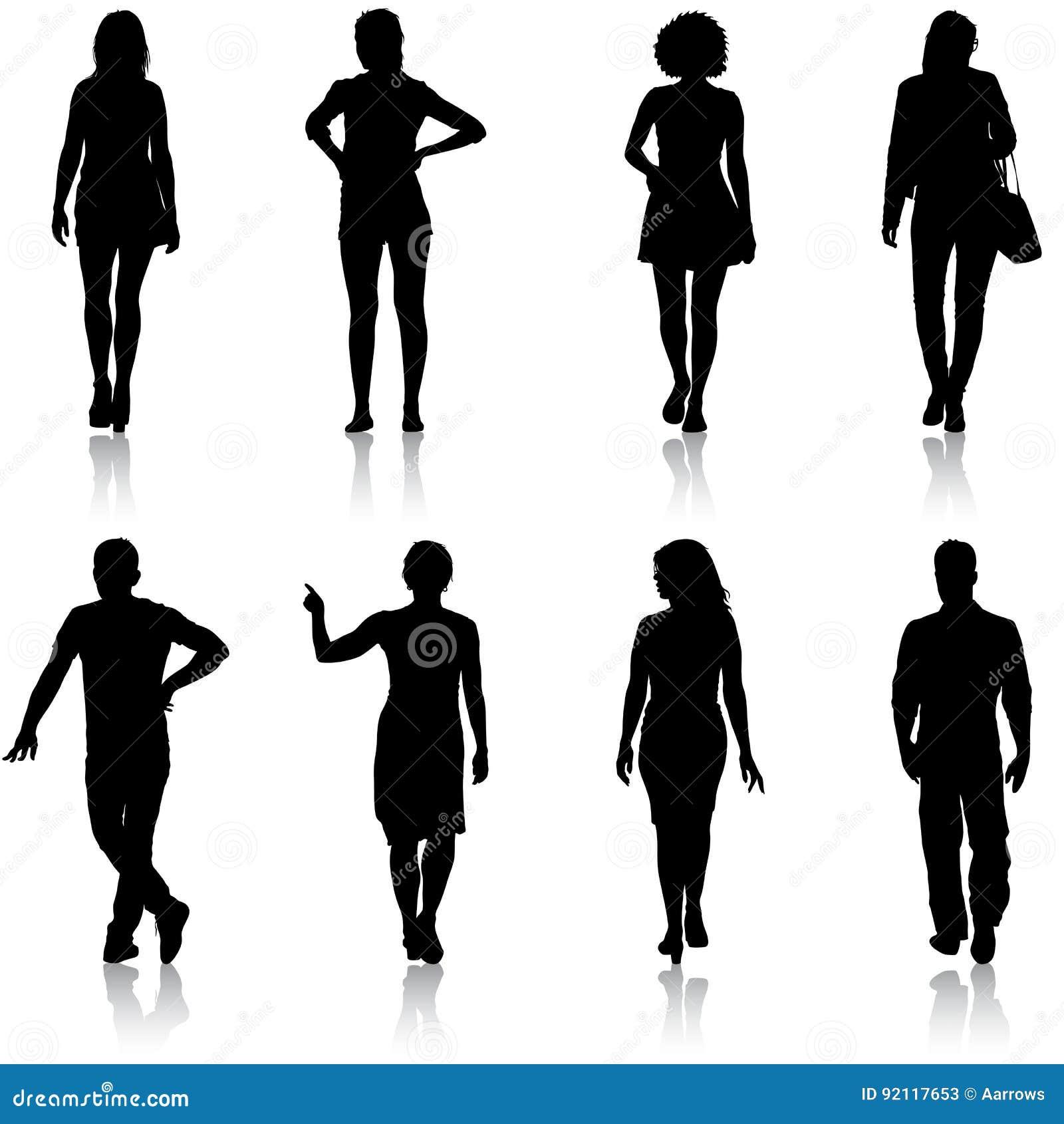 Grupo de personas negro de la silueta que se coloca en diversas actitudes
