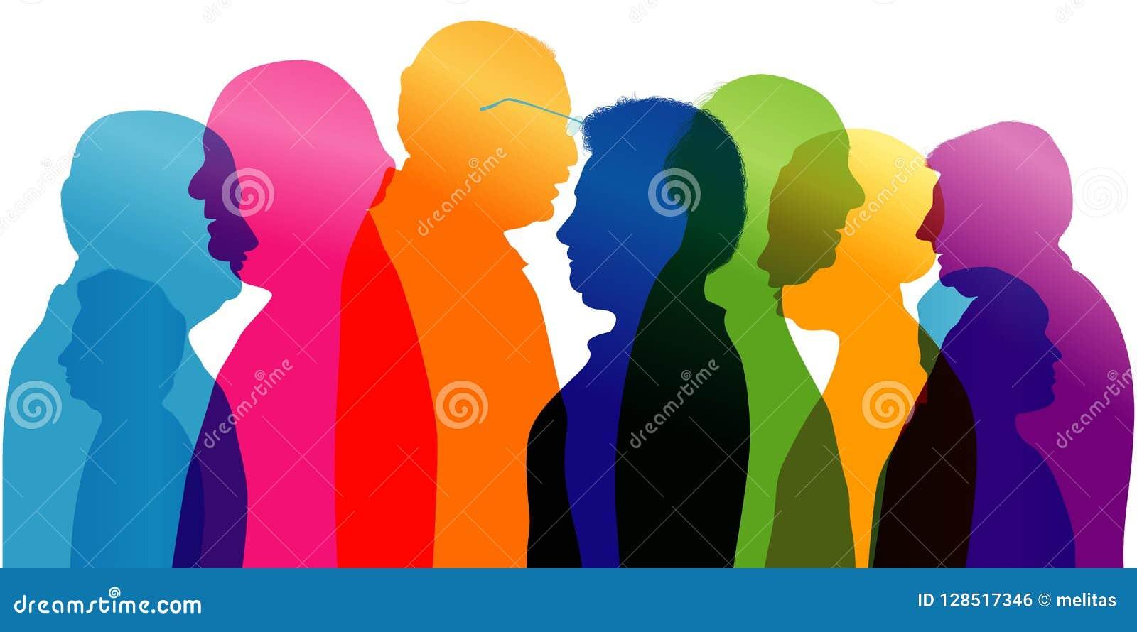 Grupo de pessoas adultas da fala Diálogo e conversação entre pessoas adultas Perfil - silhueta - retrato - cara Exposu múltiplo
