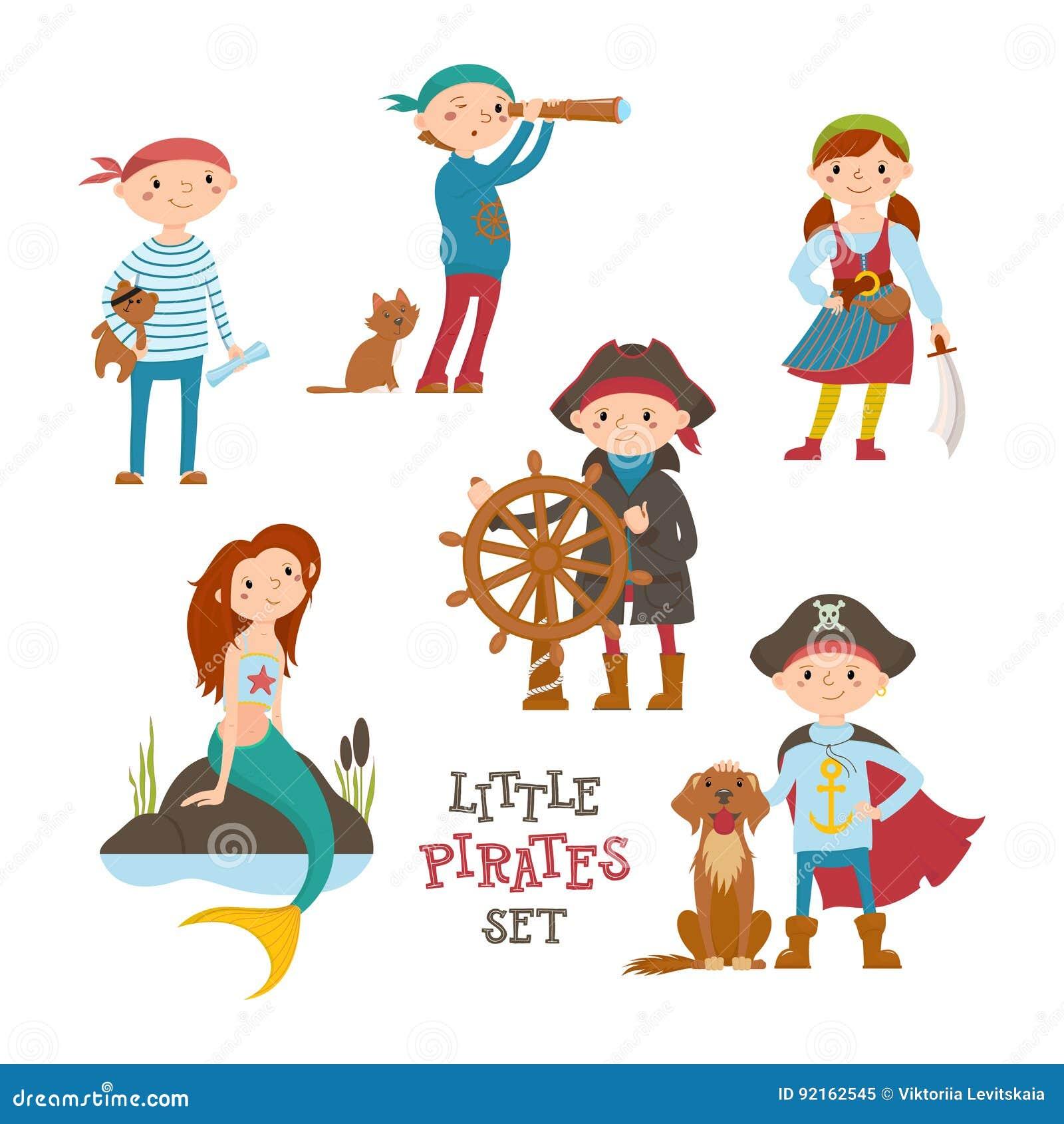 Grupo De Pirata Dos Desenhos Animados Bonitos De Criancas Do