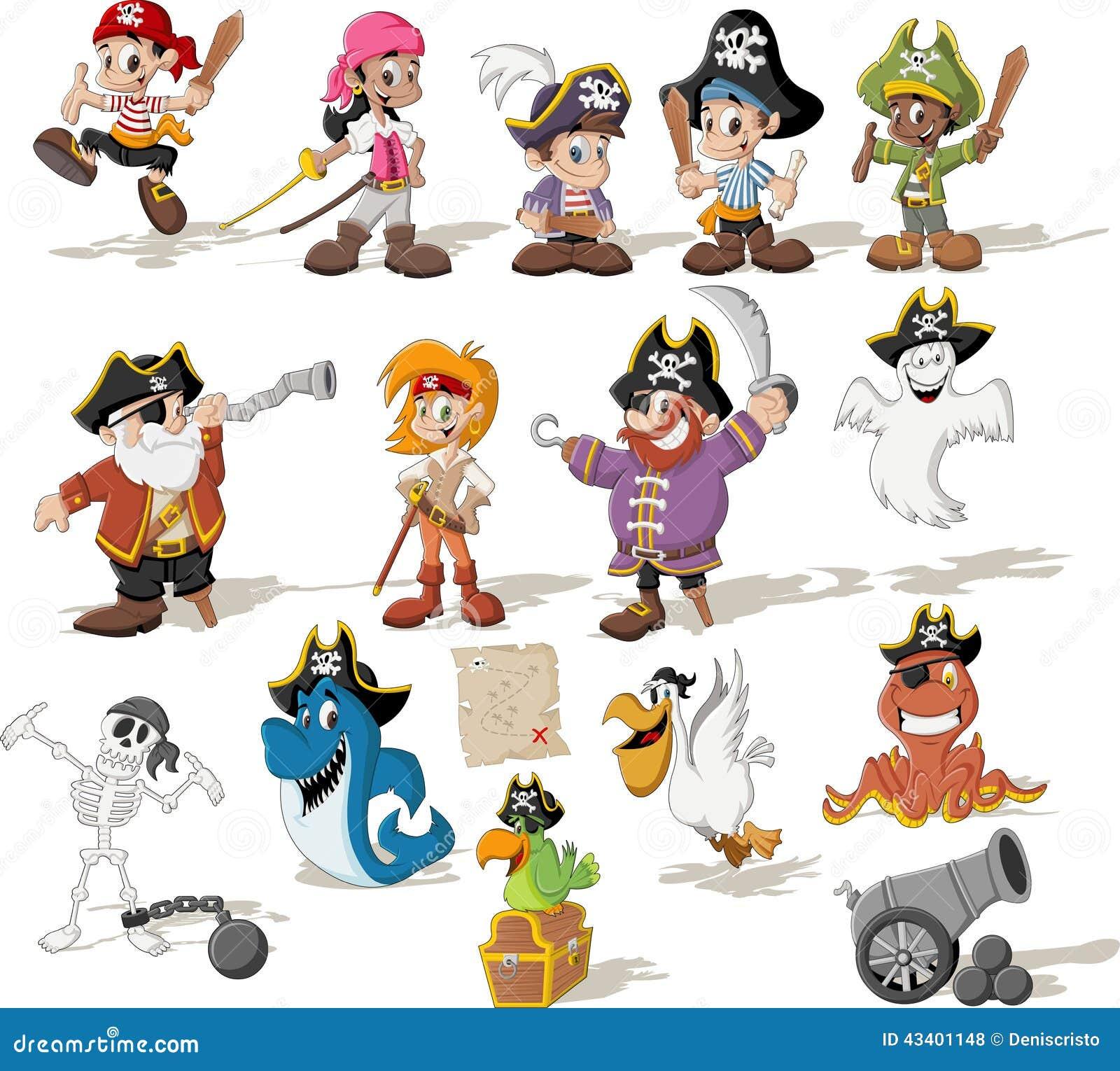 Grupo de piratas dos desenhos animados