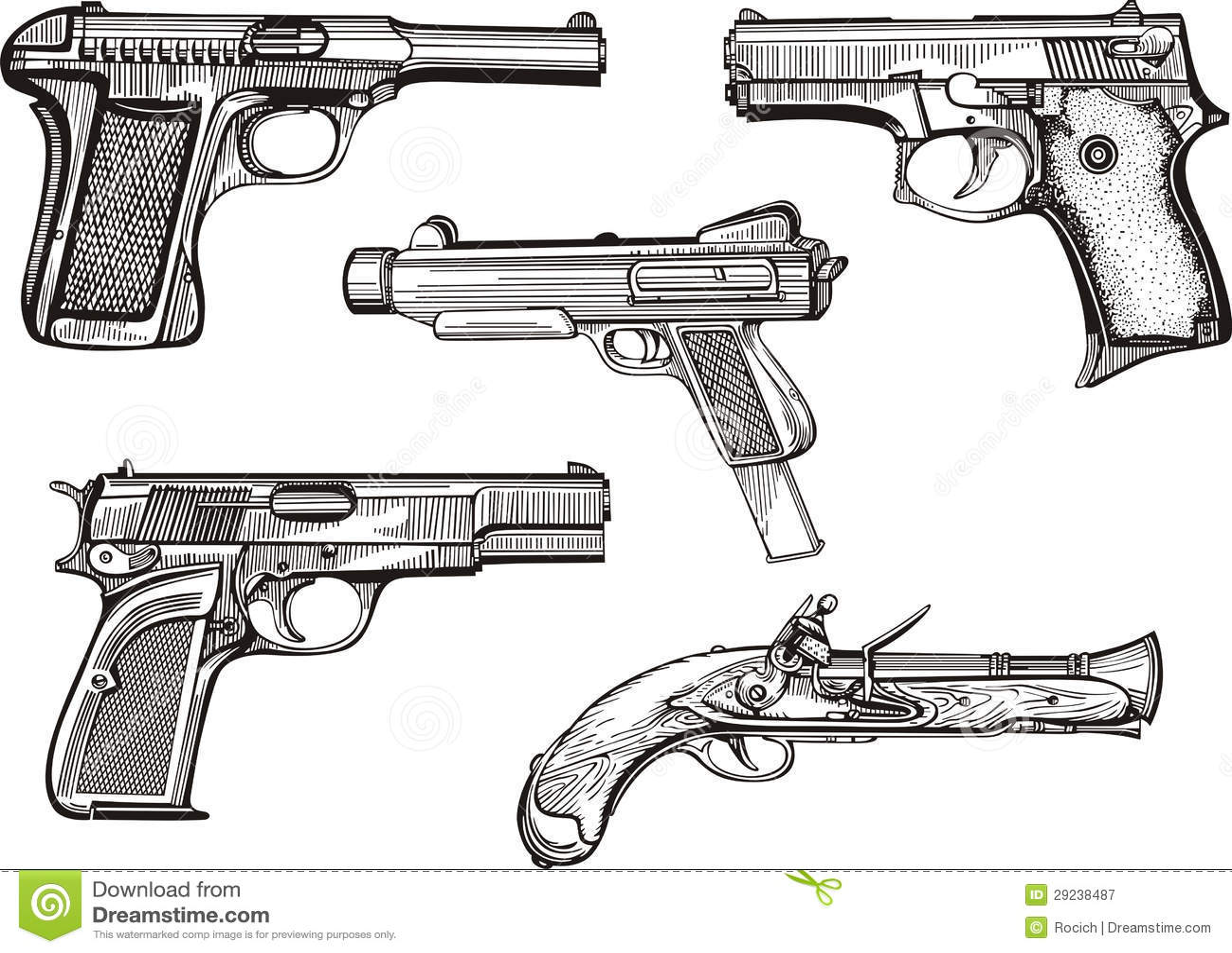 Download Grupo de pistolas velhas ilustração do vetor. Ilustração de perigo - 29238487