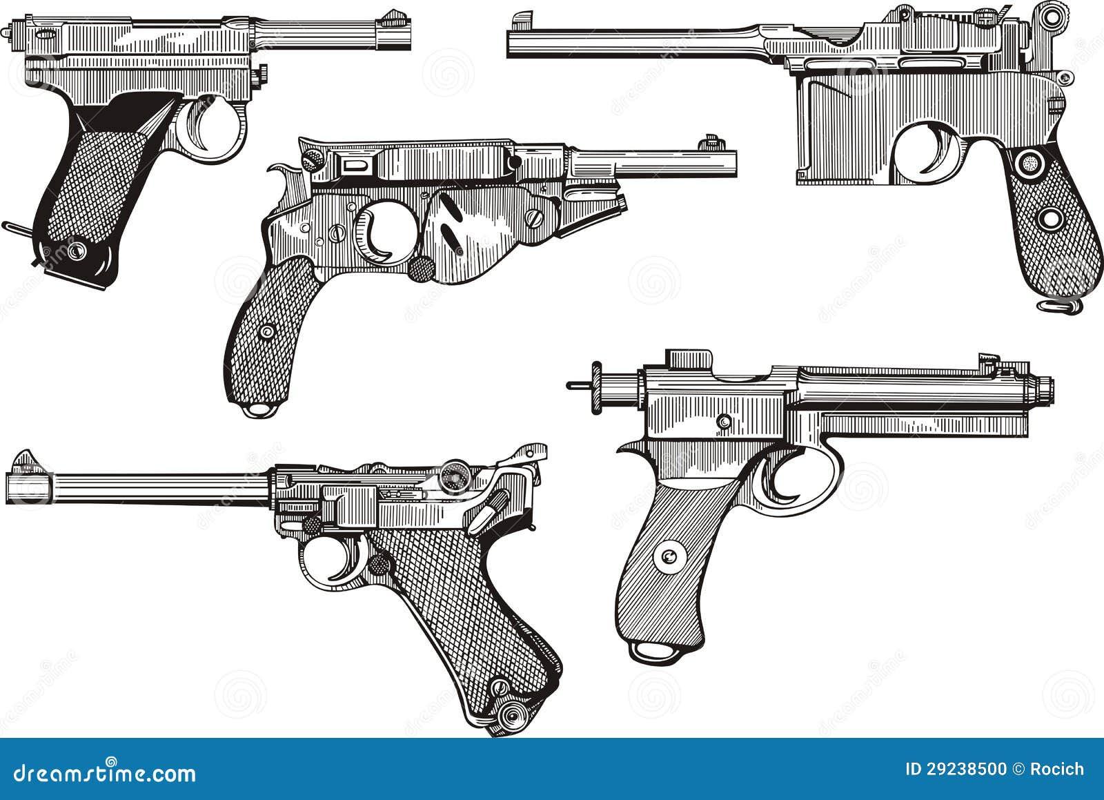 Download Grupo de pistolas velhas ilustração do vetor. Ilustração de preto - 29238500