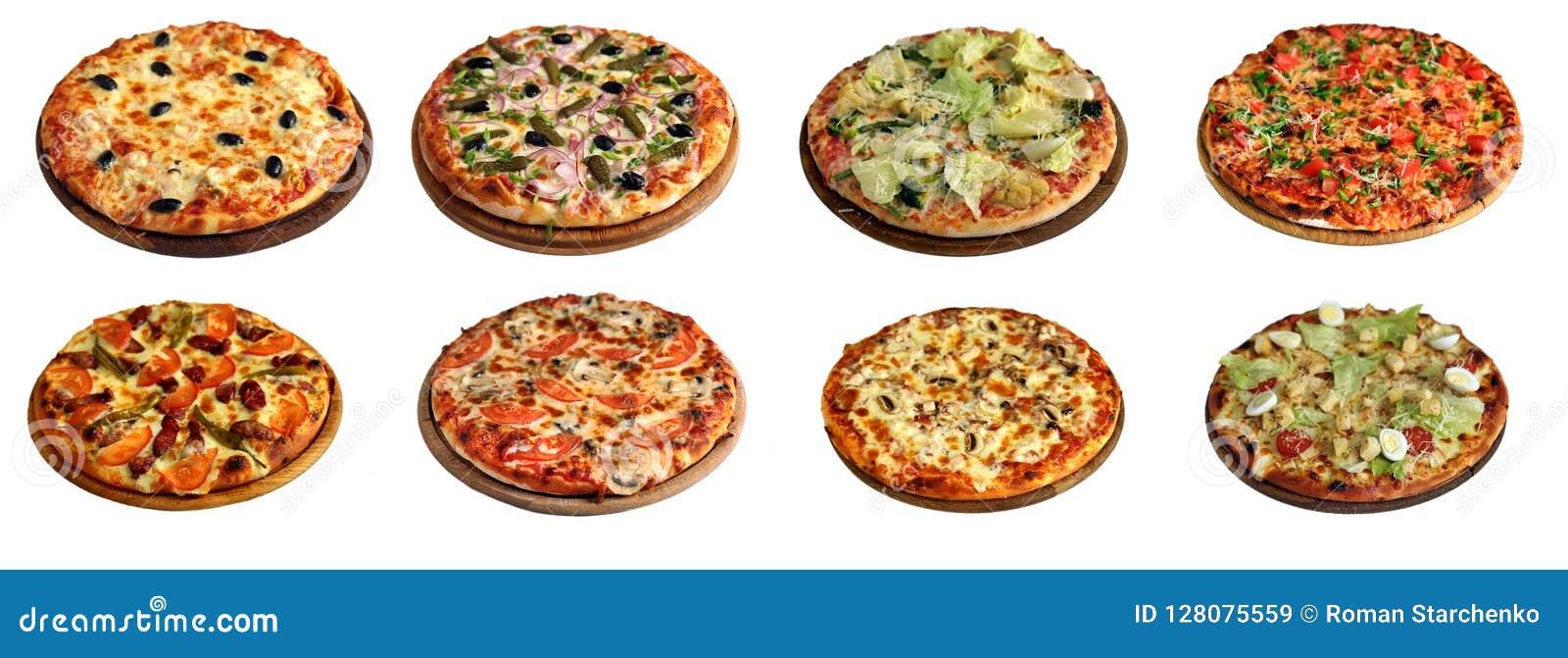 Grupo de pizzas diferentes isoladas no branco