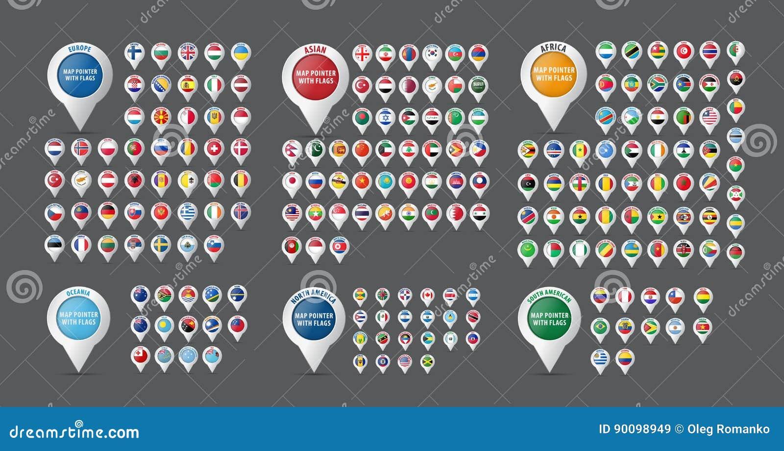 Grupo de ponteiros para um mapa com as bandeiras de todos os países e contin
