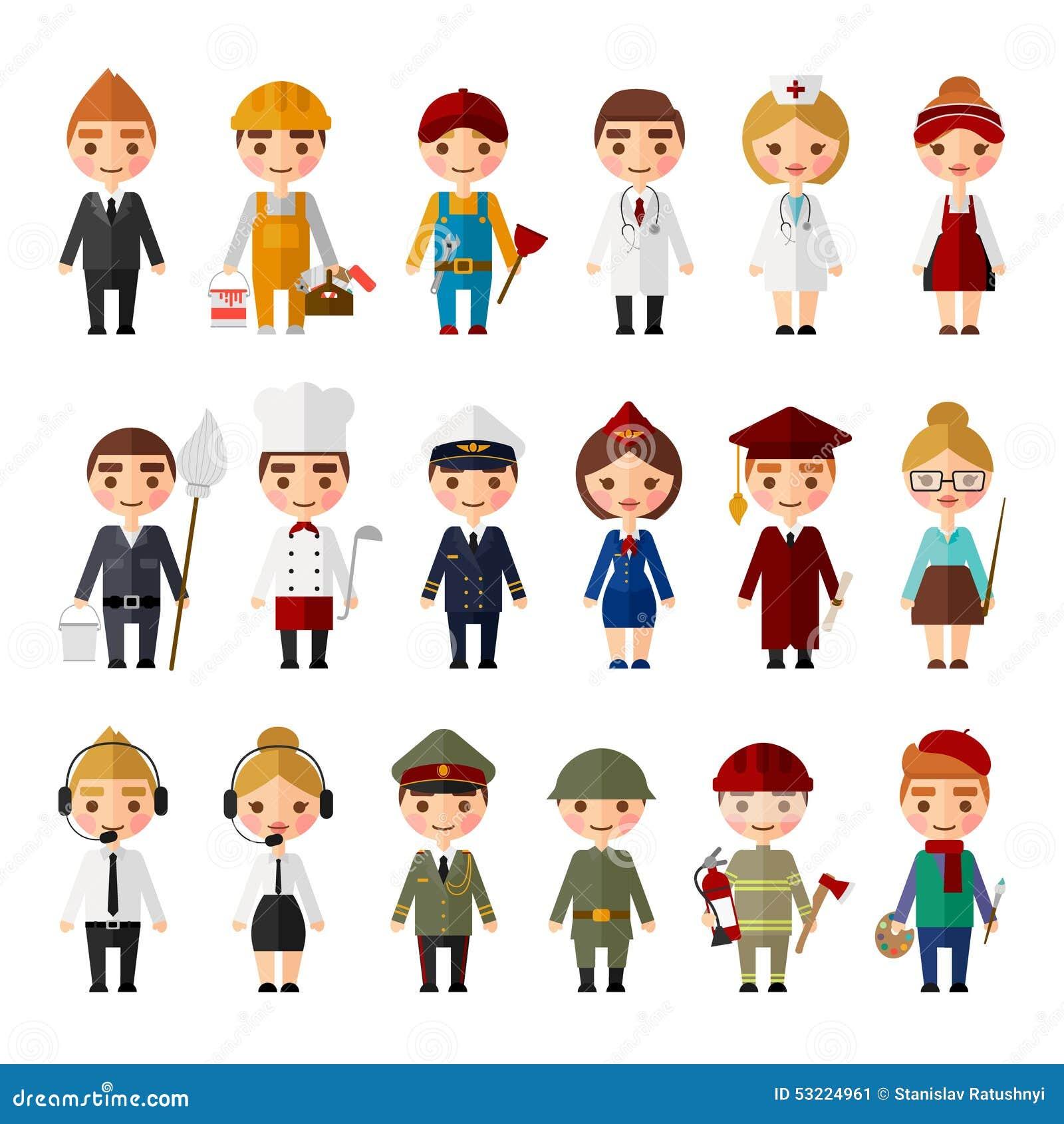 Grupo De Povos De Profissões Diferentes Ilustração Do