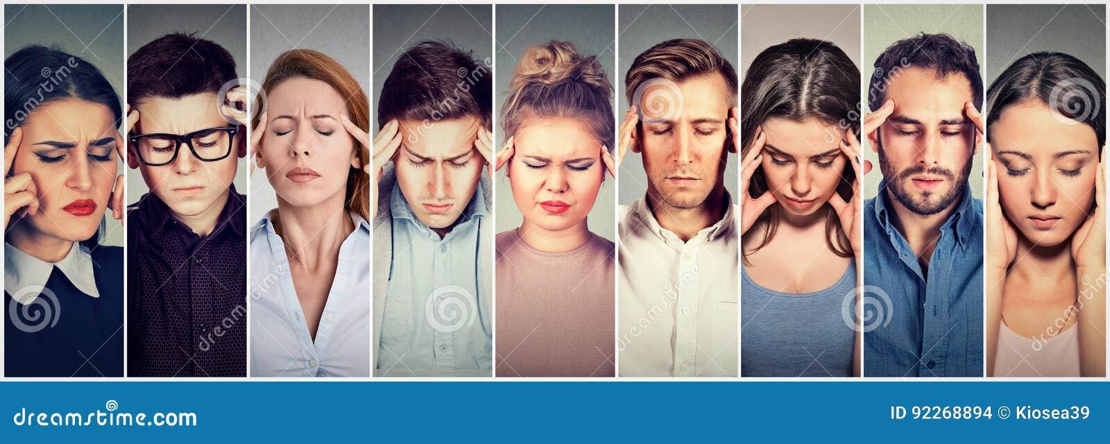 Grupo de povos forçados que têm a dor de cabeça