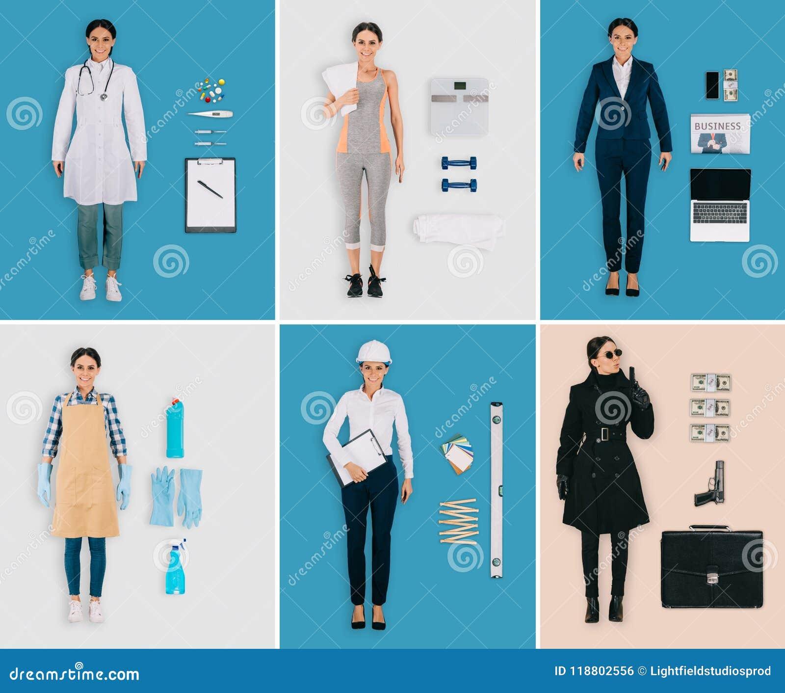 Grupo de profissões diferentes: doutor fêmea, desportista, líquido de limpeza, construtor, mulher de negócios