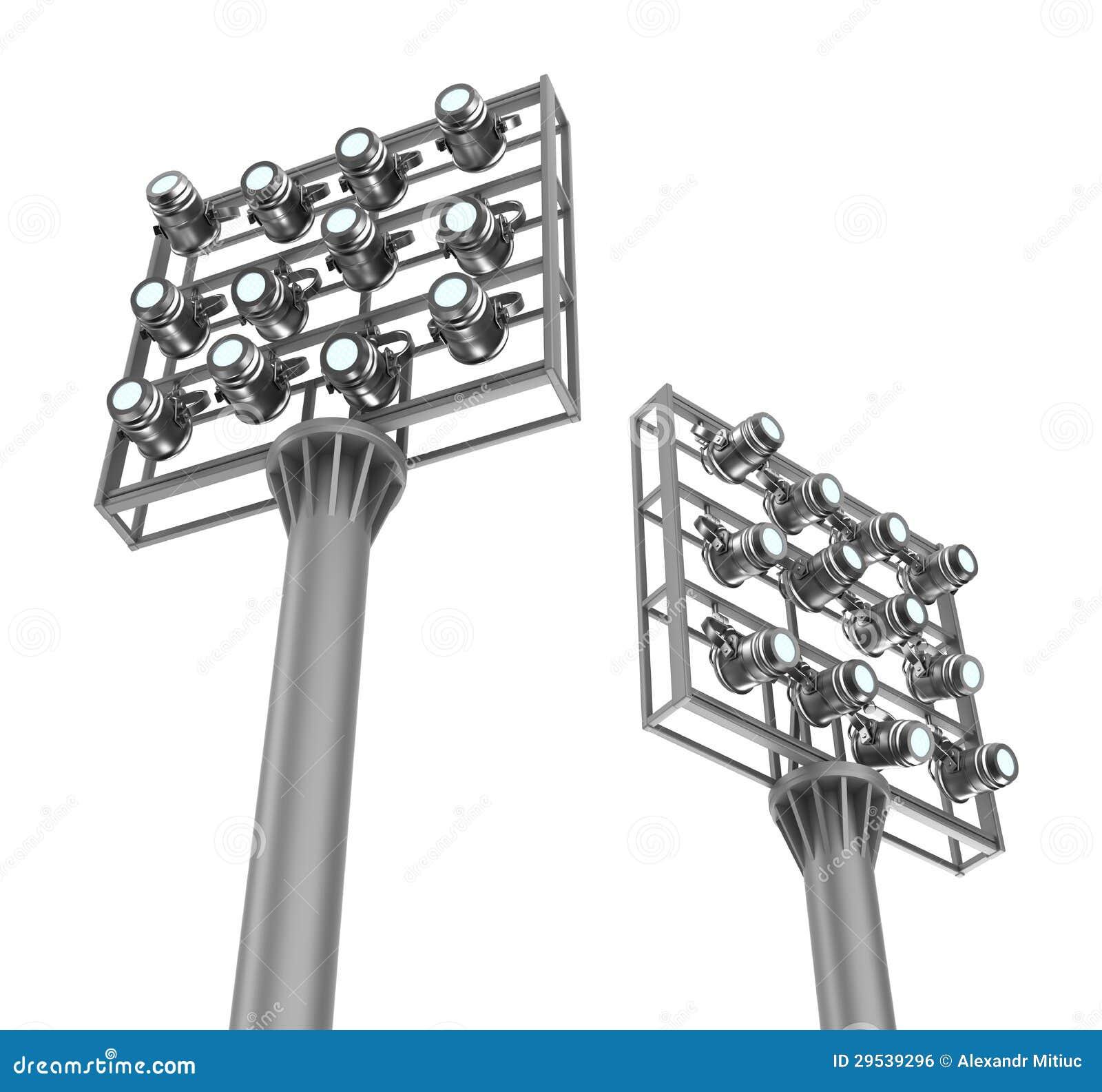 Grupo de projectores em quadros do metal. Vista da parte inferior.