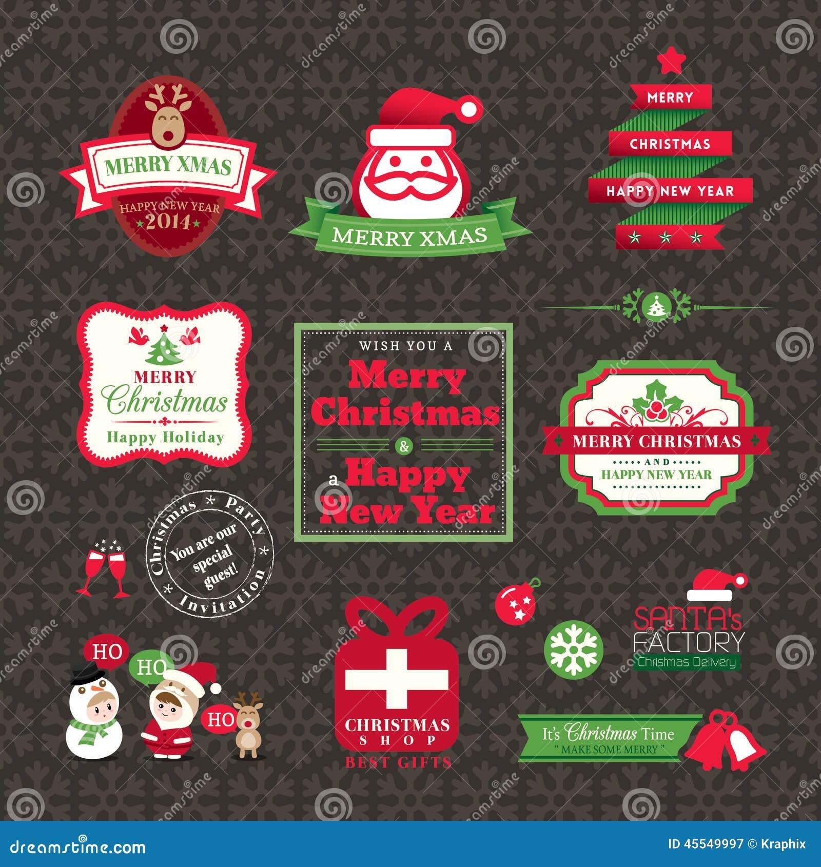 Grupo de projeto das etiquetas e dos quadros do Natal