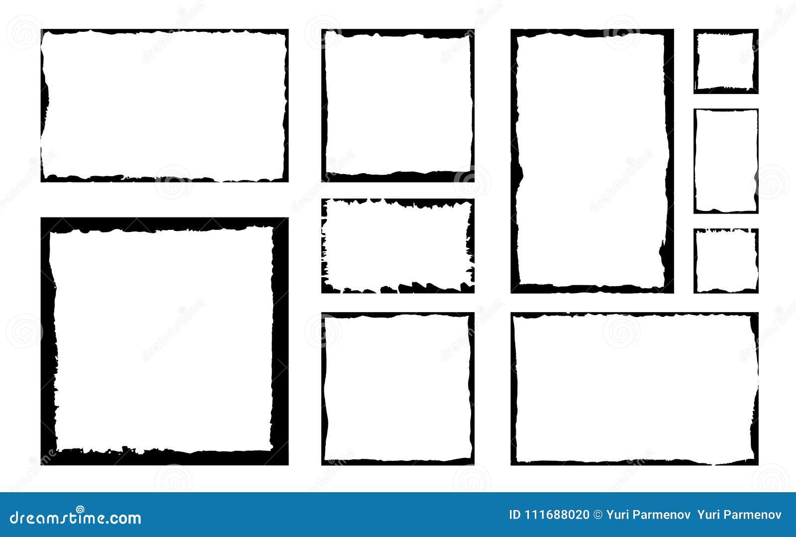 Grupo de quadros do quadrado do grunge da tinta Fundo vazio da beira