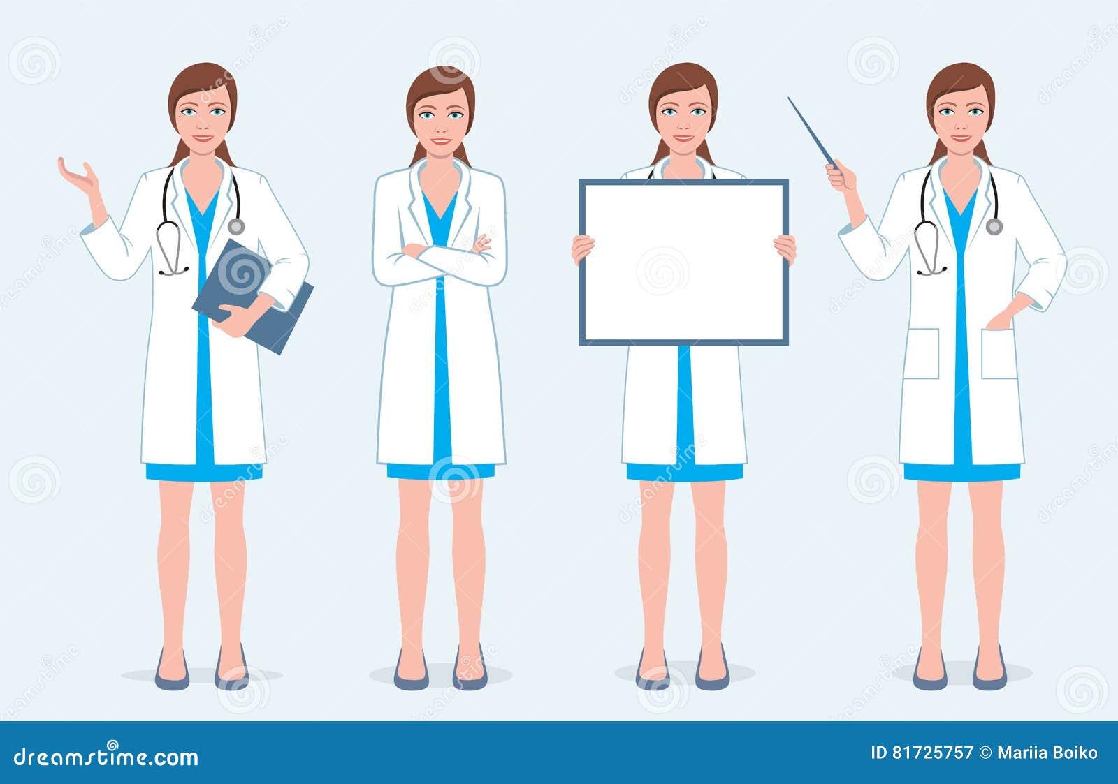 Grupo de quatro doutores fêmeas