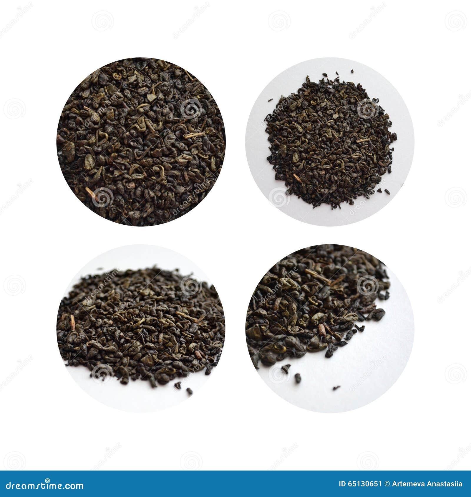 Grupo de quatro imagens do chá verde no círculos