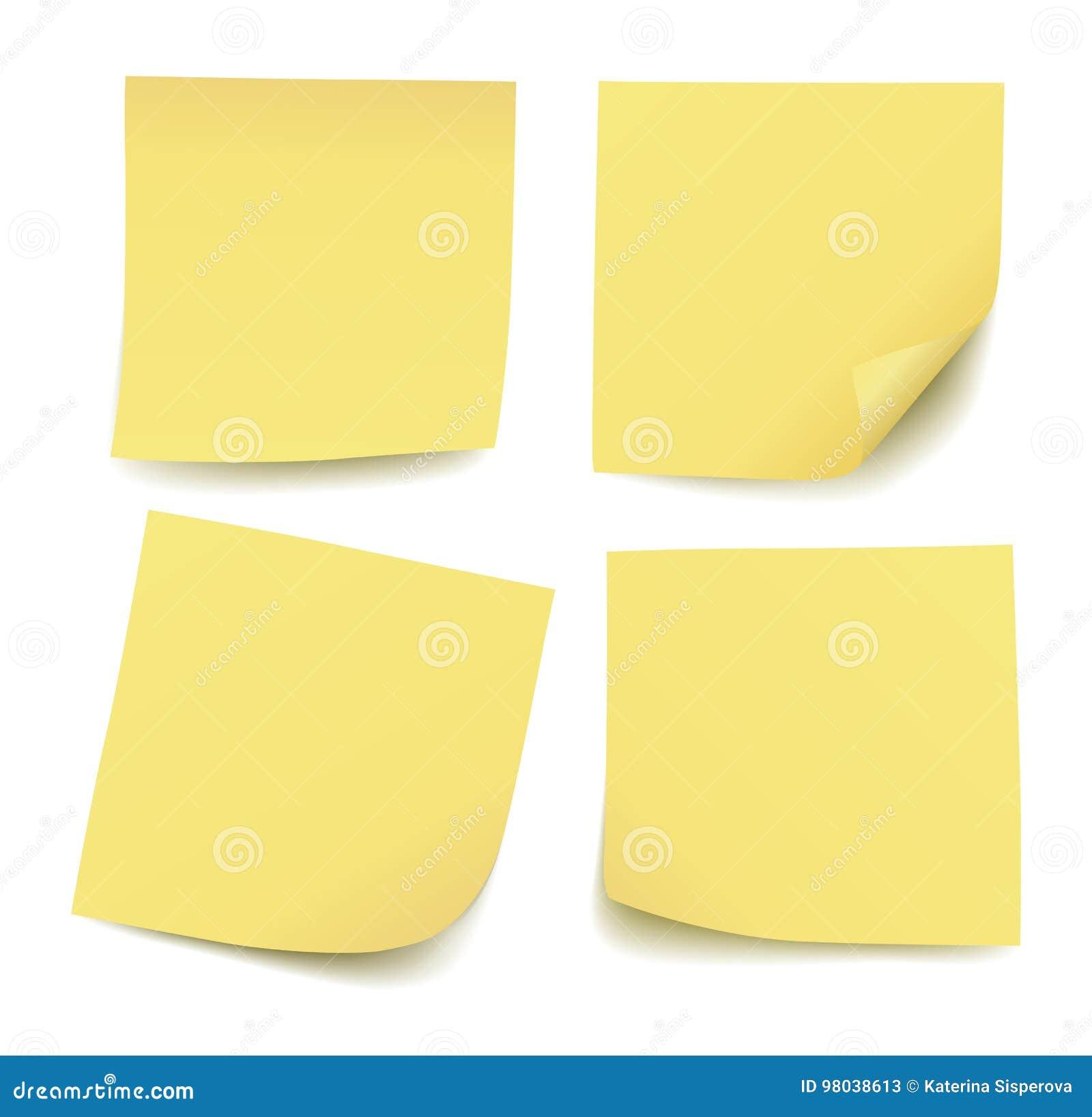 Grupo de quatro notas de post-it amarelas vazias realísticas isoladas