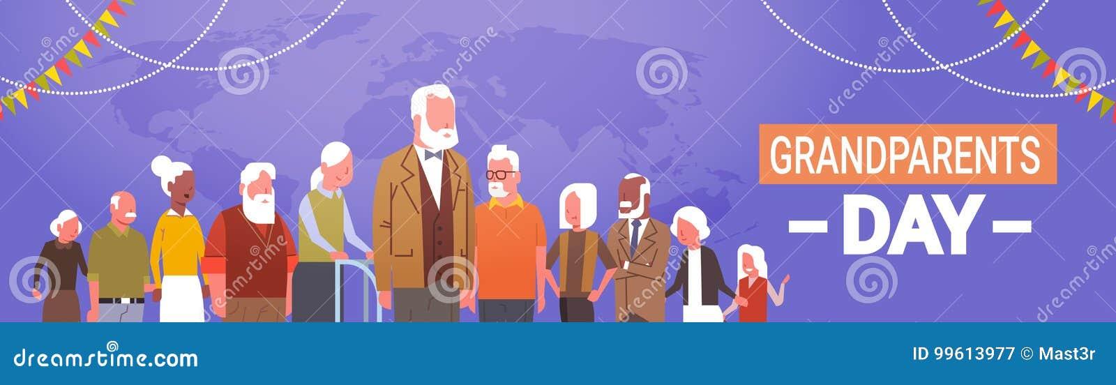 Grupo de raza feliz de la mezcla de la bandera de la tarjeta de felicitación del día de los abuelos