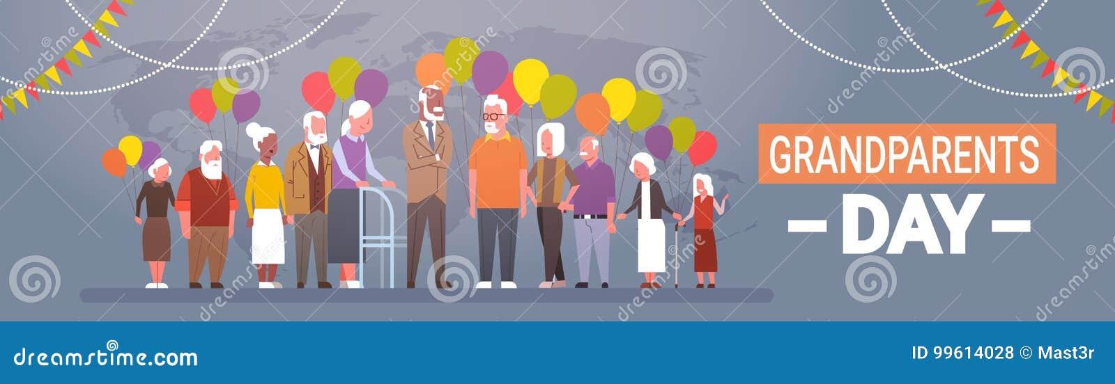 Grupo de raza feliz de la mezcla de la bandera de la tarjeta de felicitación del día de los abuelos de celebración mayor de la ge