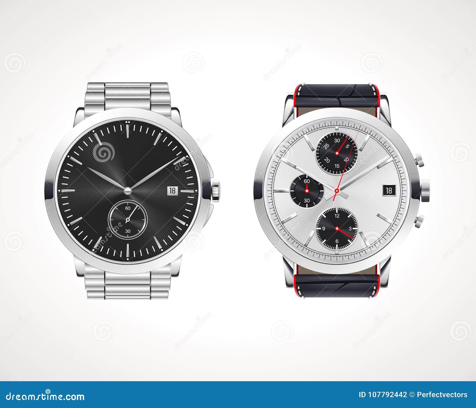 Grupo de relógios de homens clássicos e modernos