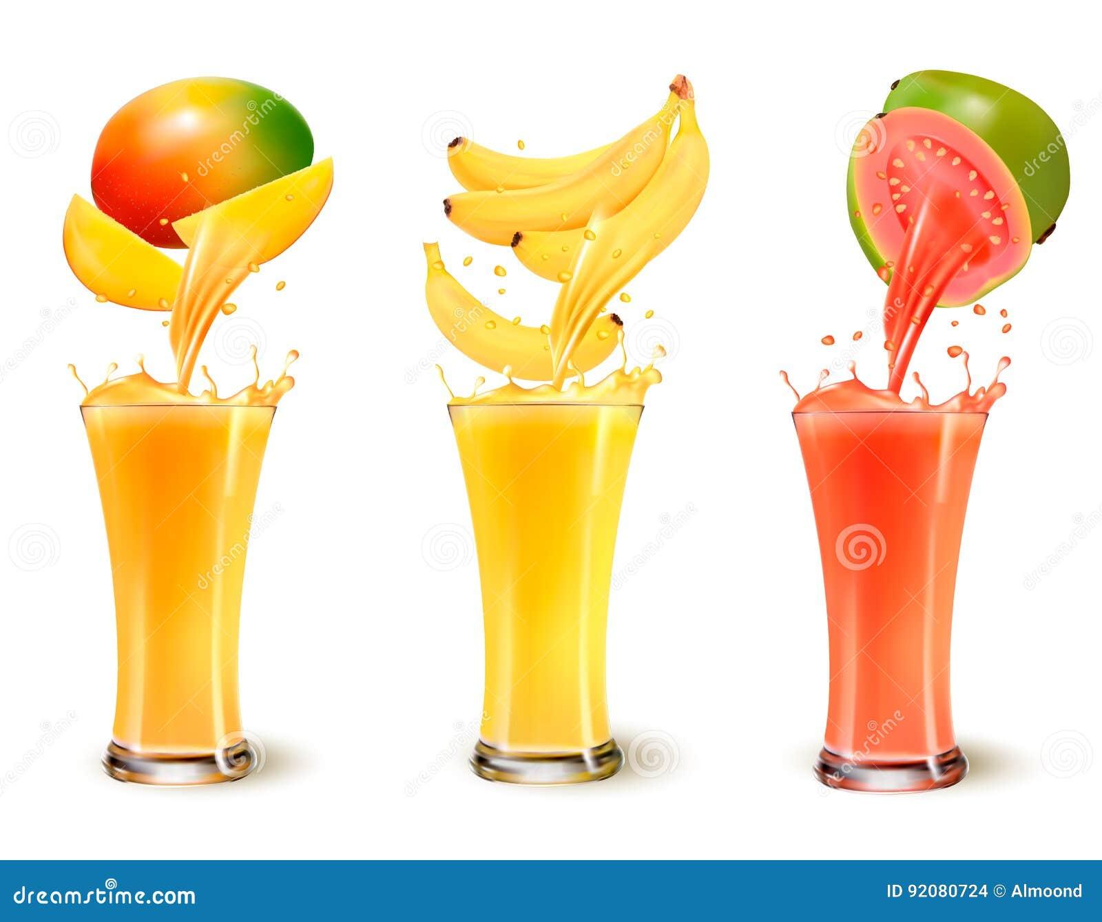 Grupo de respingo do suco de fruto em um vidro