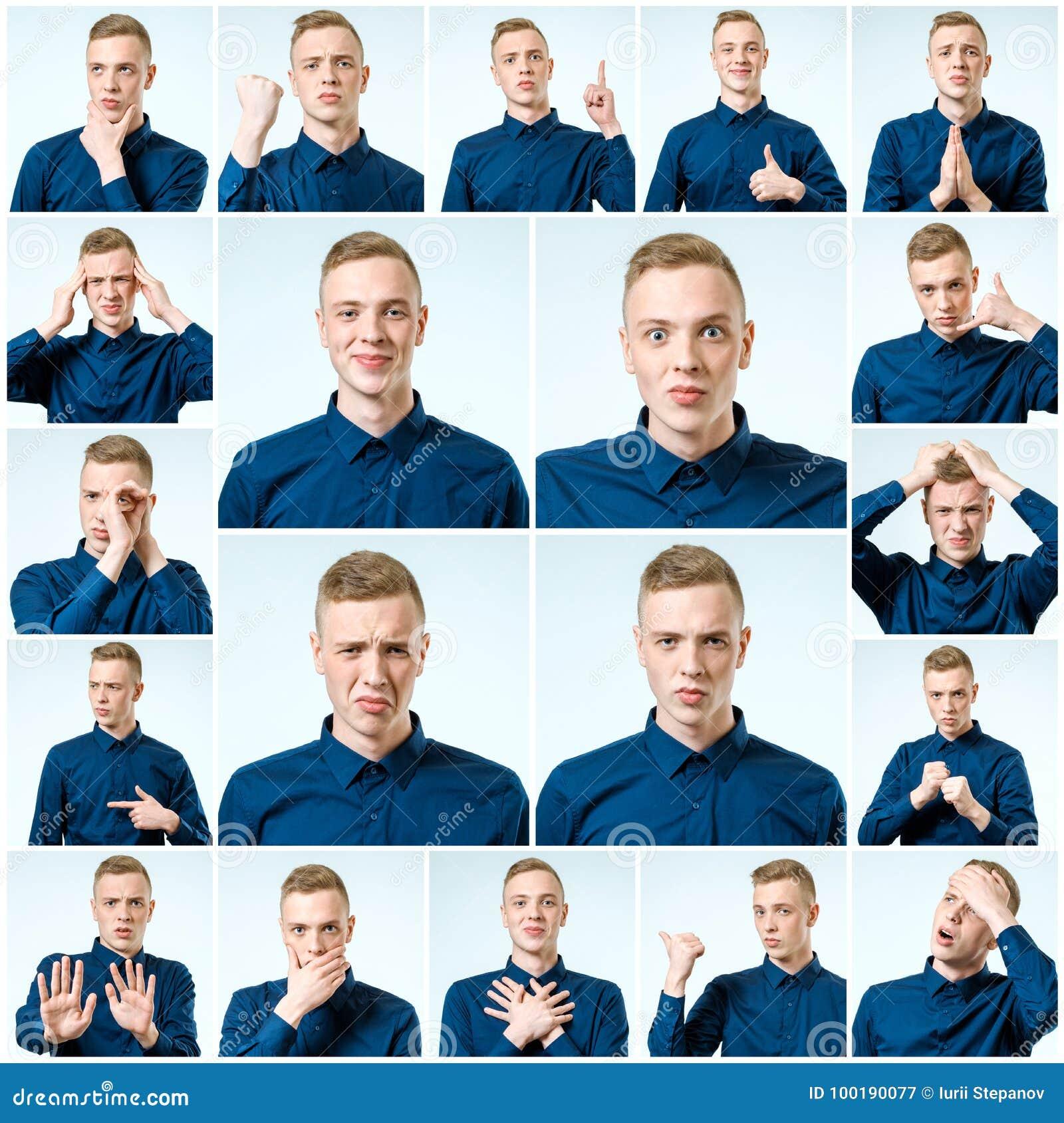 Grupo de retratos do ` s do homem novo com emoções diferentes