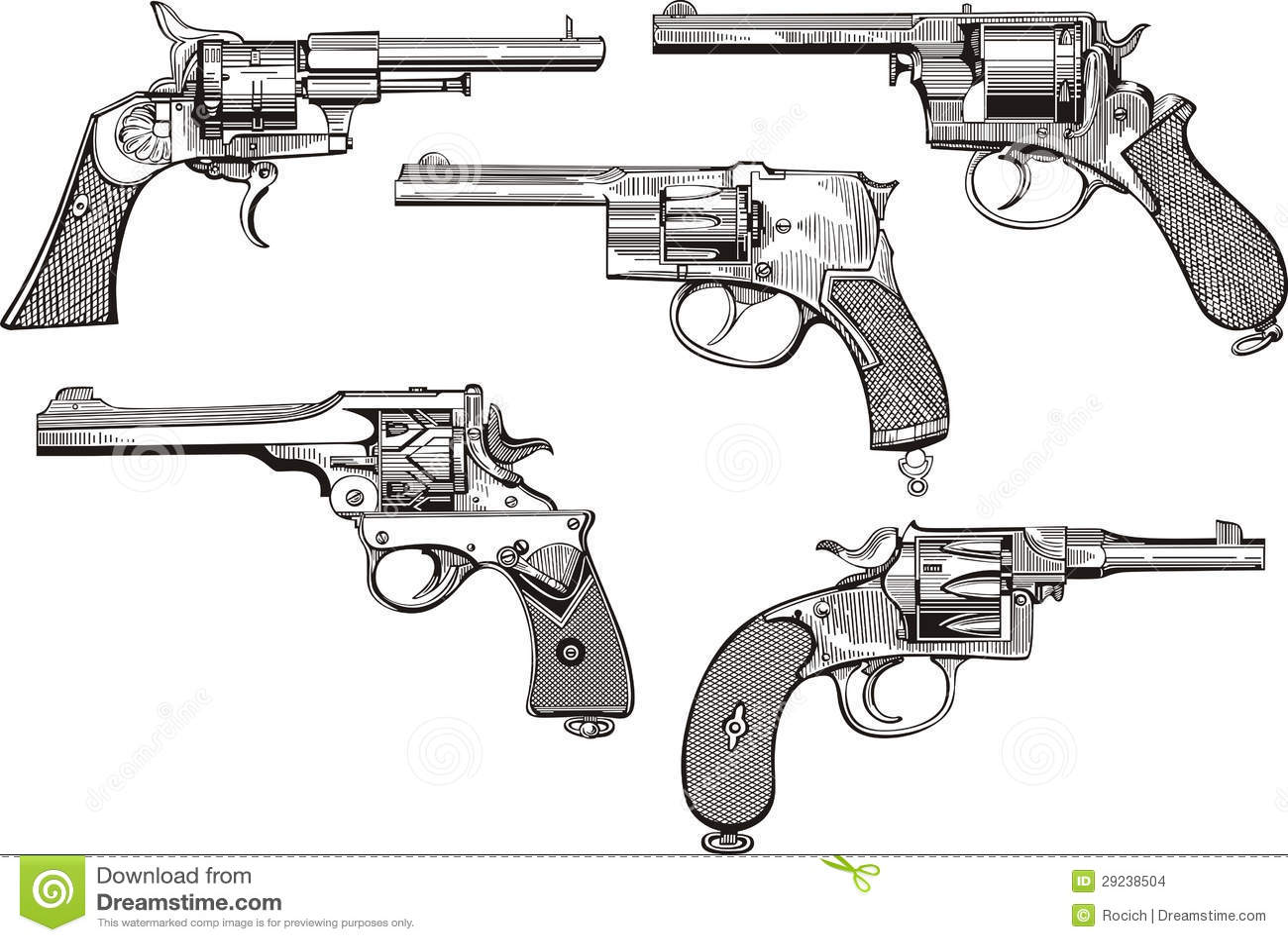 Download Grupo de revólveres velhos ilustração do vetor. Ilustração de shotgun - 29238504